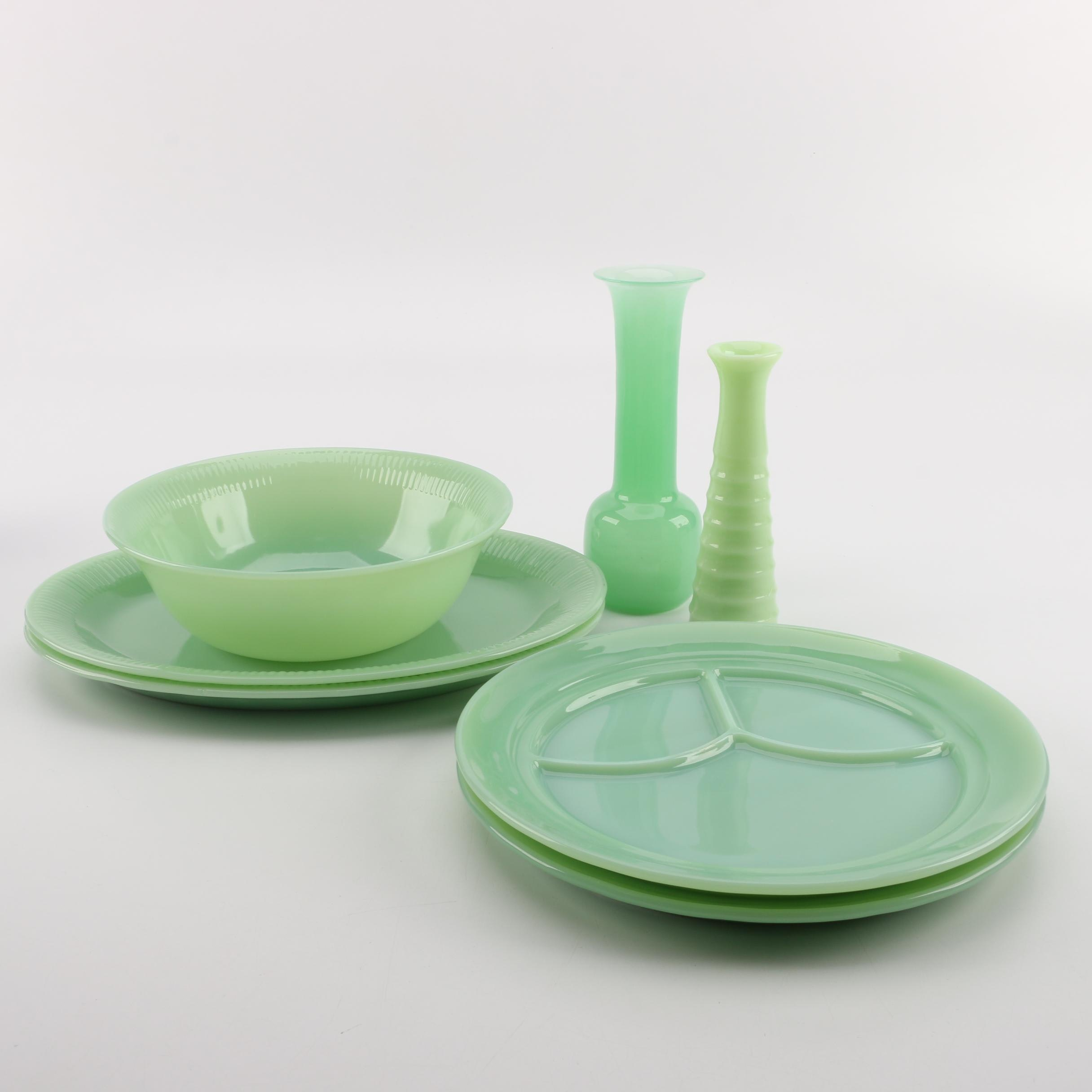 Vintage Green Glass Tableware and Accessories Featuring Fire King Jadeite