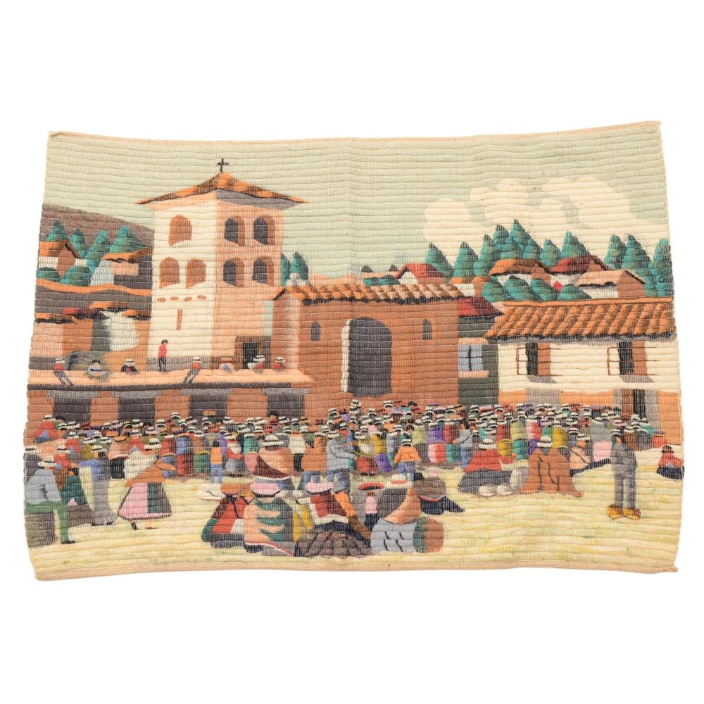 Vintage Handmade Peruvian Wool Tapestry