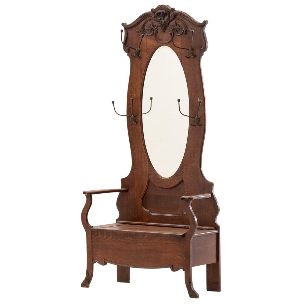 Antique Hall Bench with Mirror
