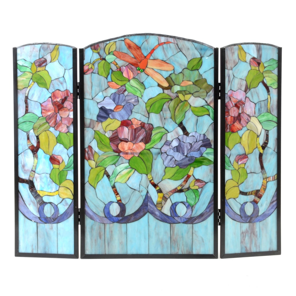 Tiffany Style Slag Glass Fireplace Screen with Dragonflies