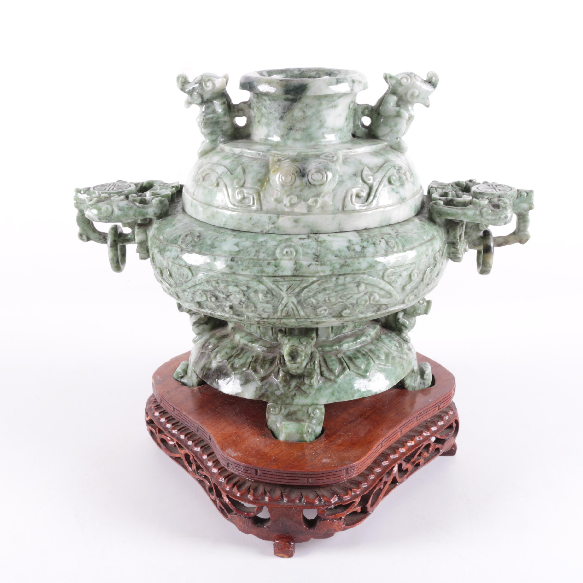Chinese Carved Serpentine Censer With Wooden Base