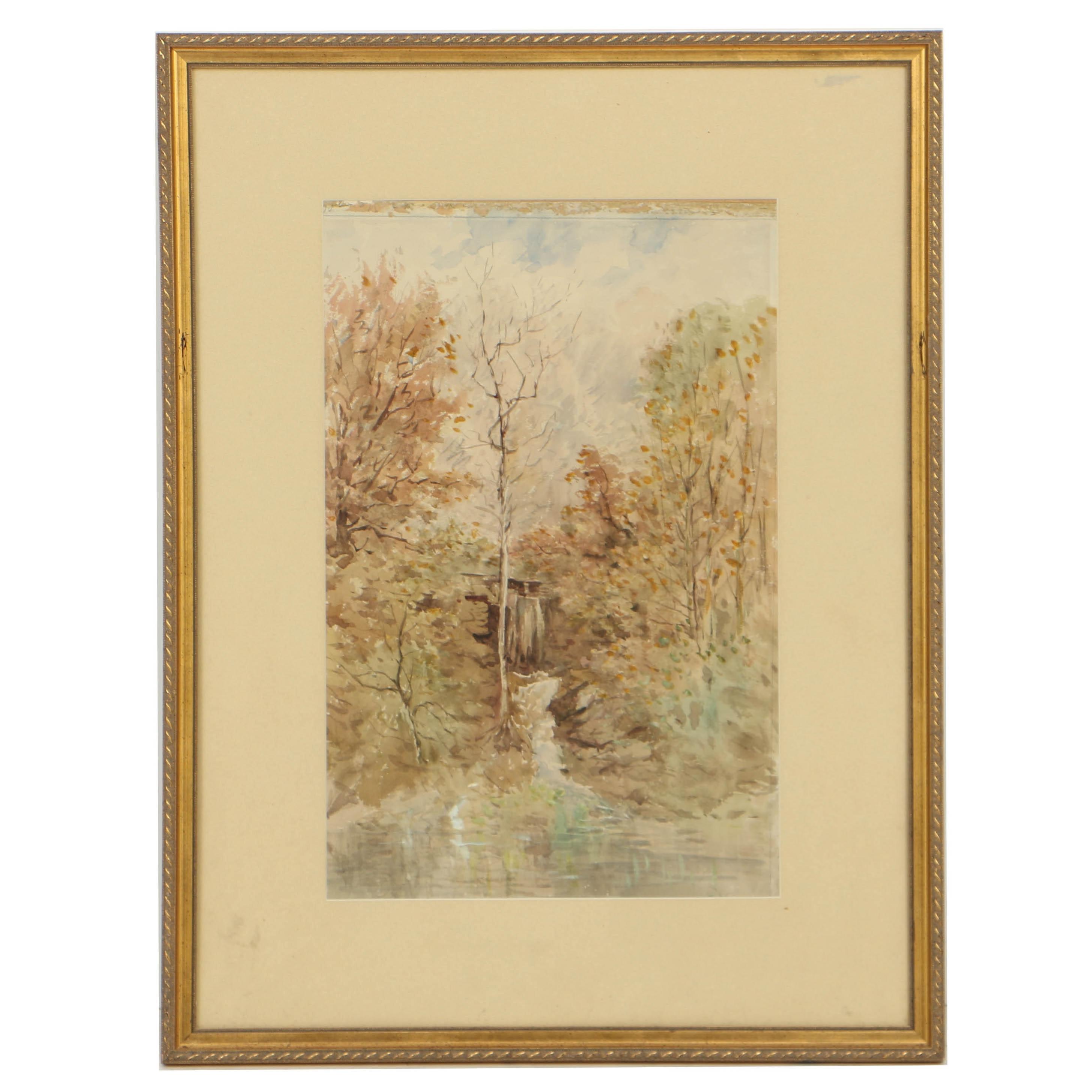 Hobart Nichols, Jr. Watercolor Painting Woodland Landscape
