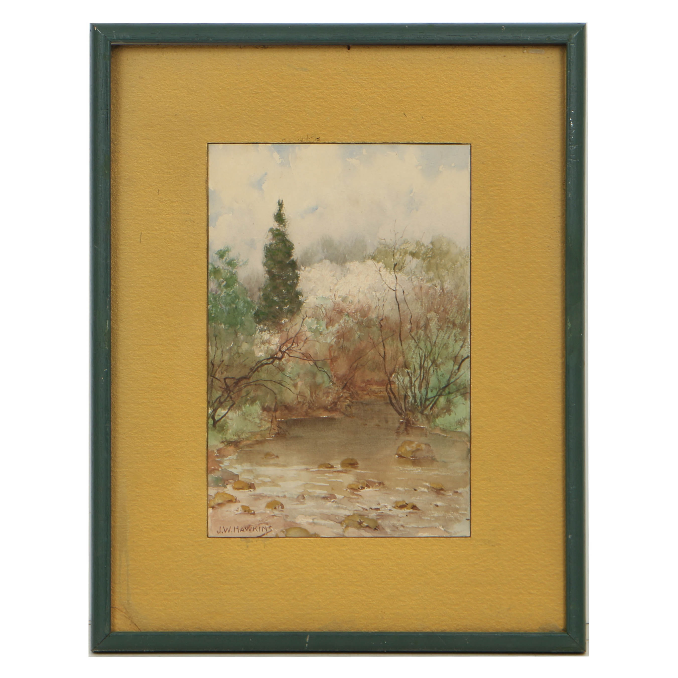 "Joseph Walter Hawkins 1905 Watercolor Painting ""Near Brook Ave, Passaic, NJ"""