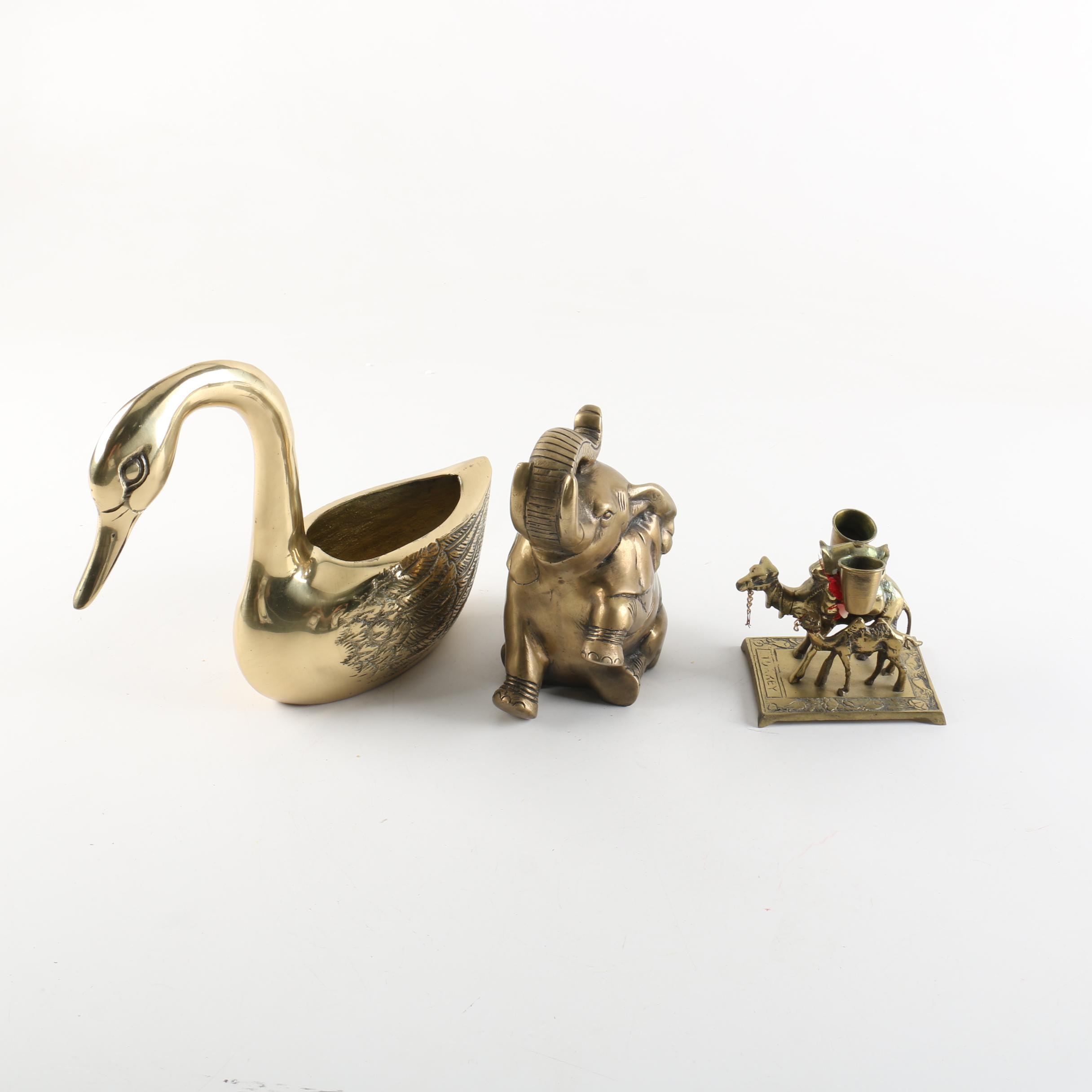 Brass Swan, Elephant, and Camel Figurines