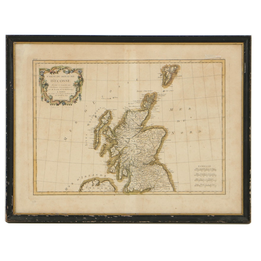 Map Of France And Scotland.18th Century French Hand Colored Map Of Scotland Ebth
