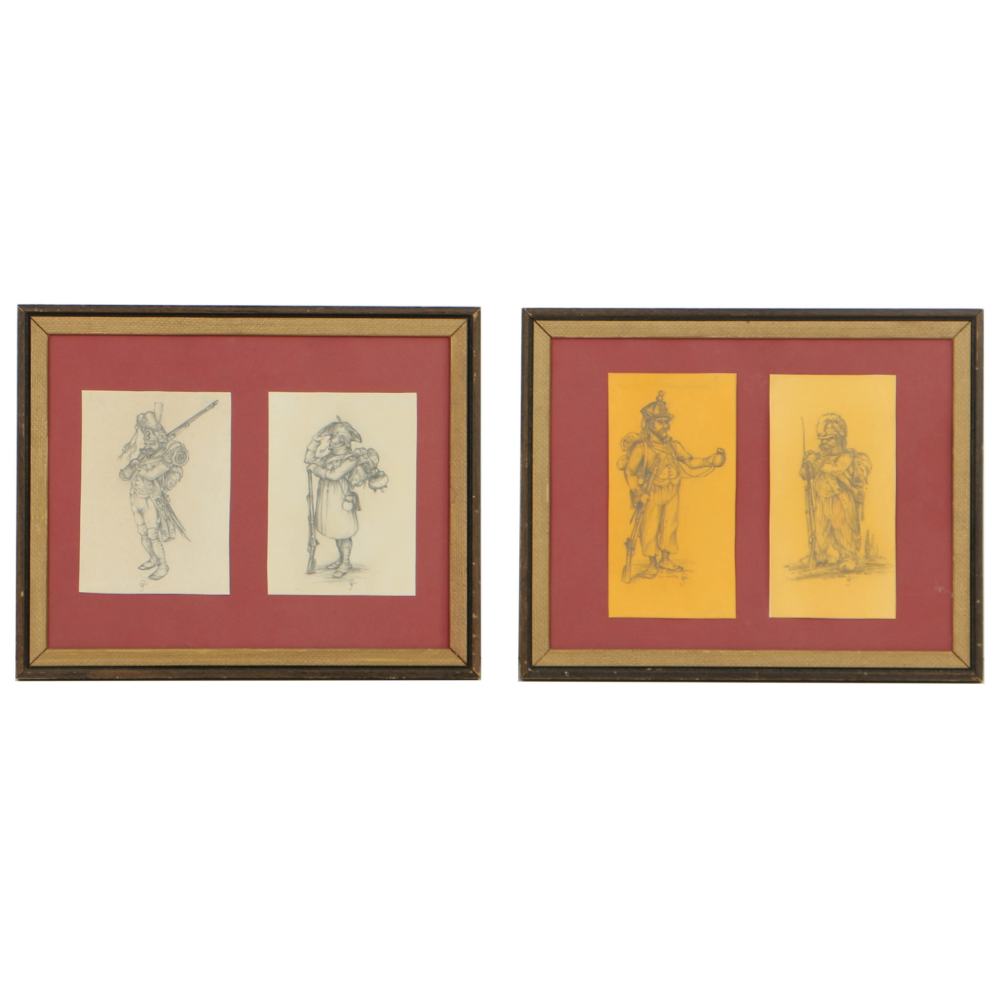 Framed Early 19th Century Graphite Caricatures on Paper of Poilus