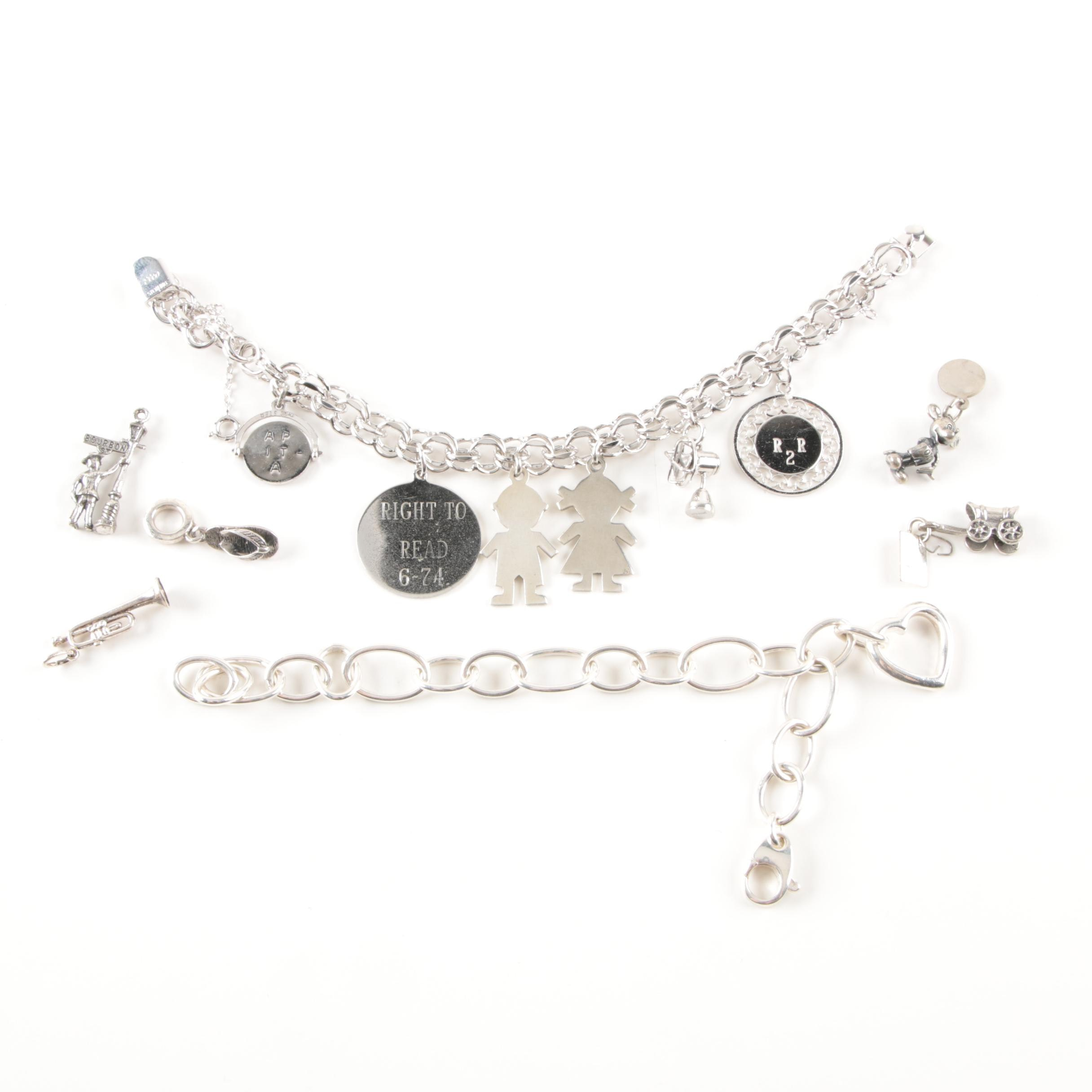 Assorted Sterling Silver Bracelets and Loose Sterling Silver Charms