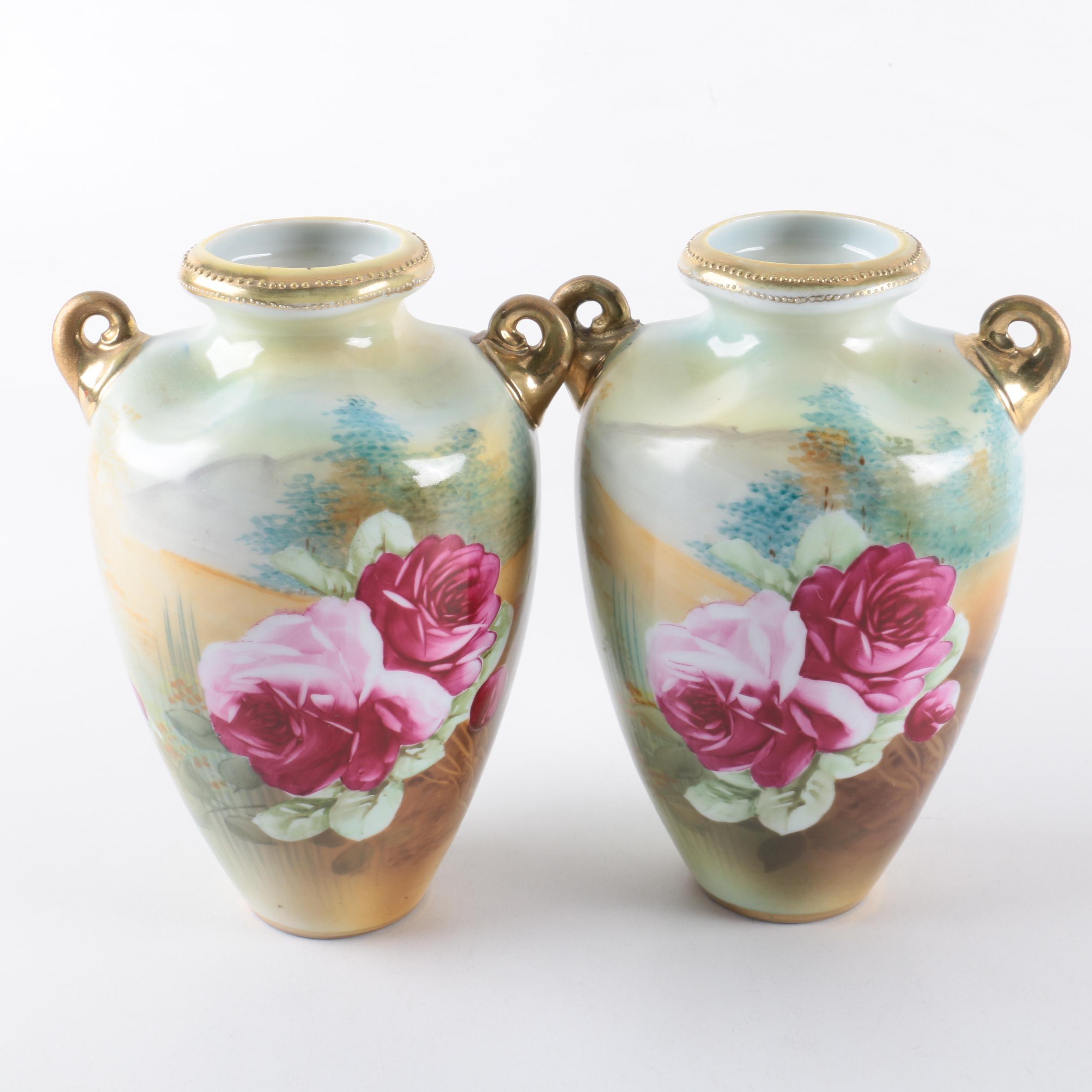 Antique Hand-Painted Nippon Porcelain Vases