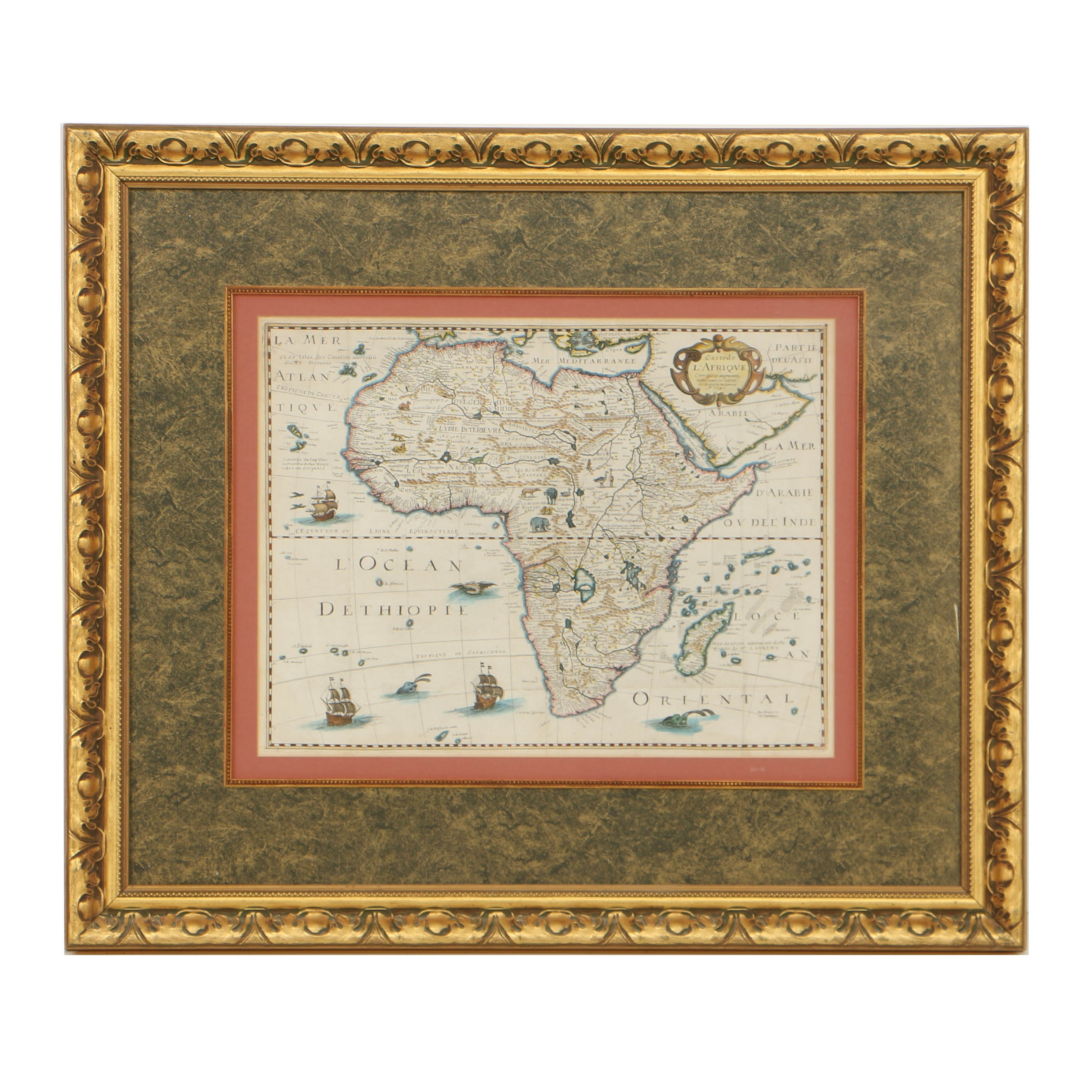 Antique French Hand-Colored Map of Africa after Petrus Bertius