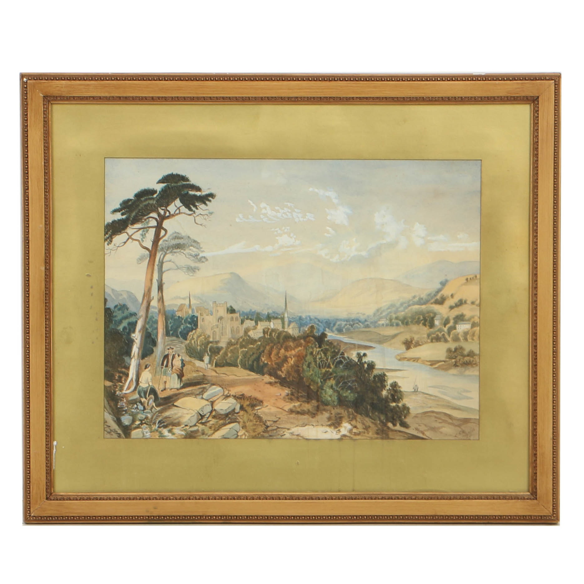 19th Century Watercolor Painting on Paper of European Landscape