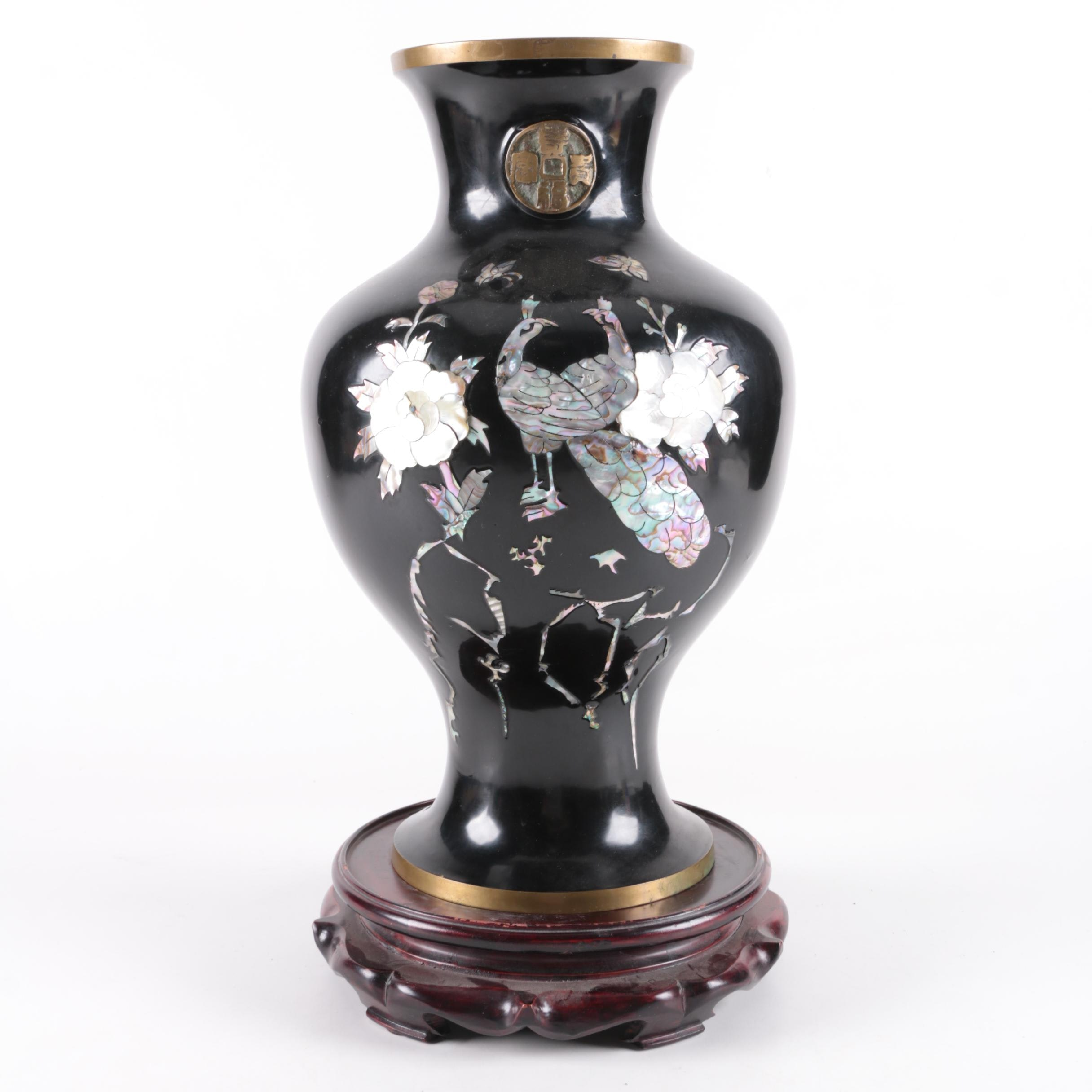 Chinese Enamel on Brass Vase with Mother of Pearl and Abalone Inlay