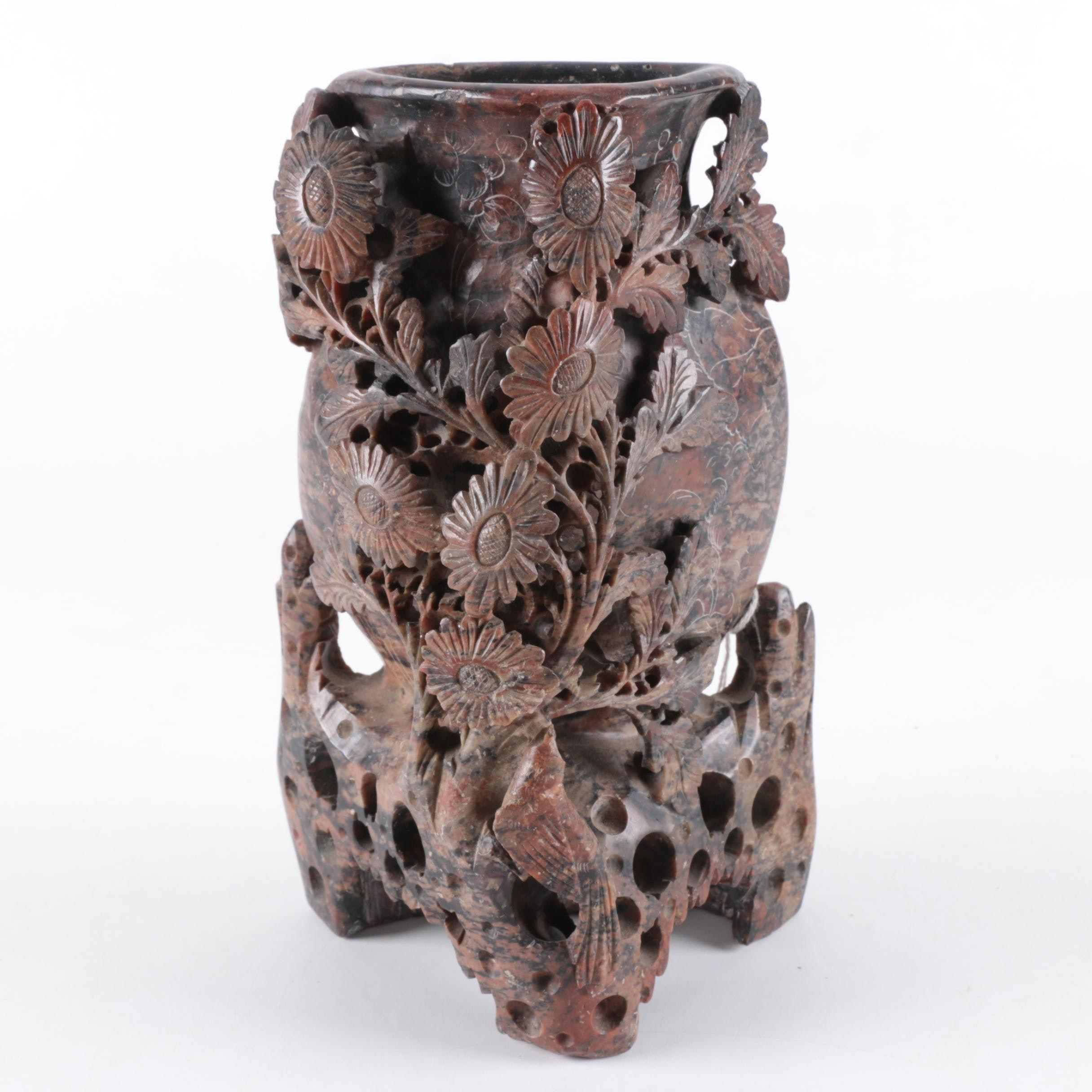 Chinese Floral Motif High Relief Carved Soapstone Vase