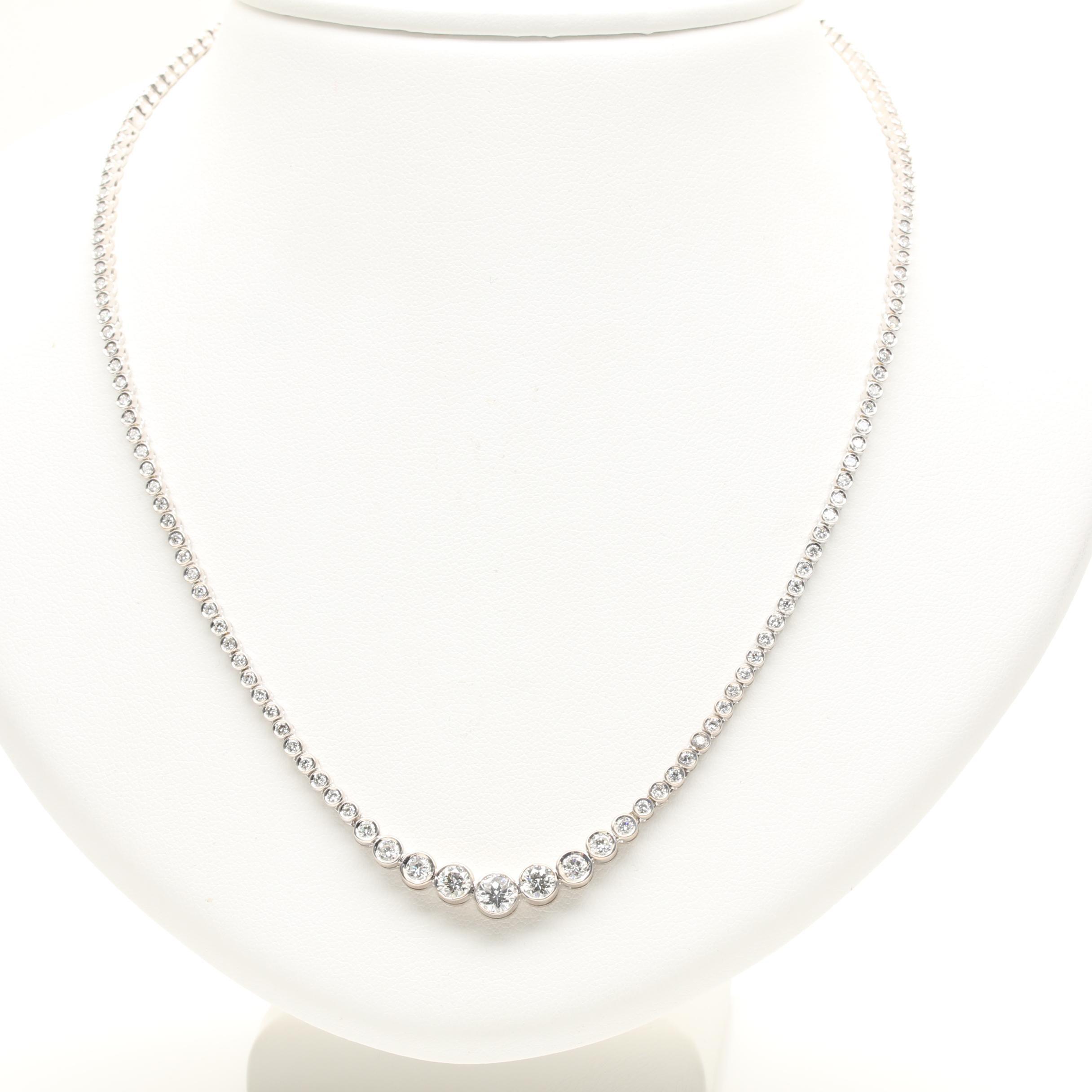18K White Gold 4.34 CTW Diamond Rivière Necklace