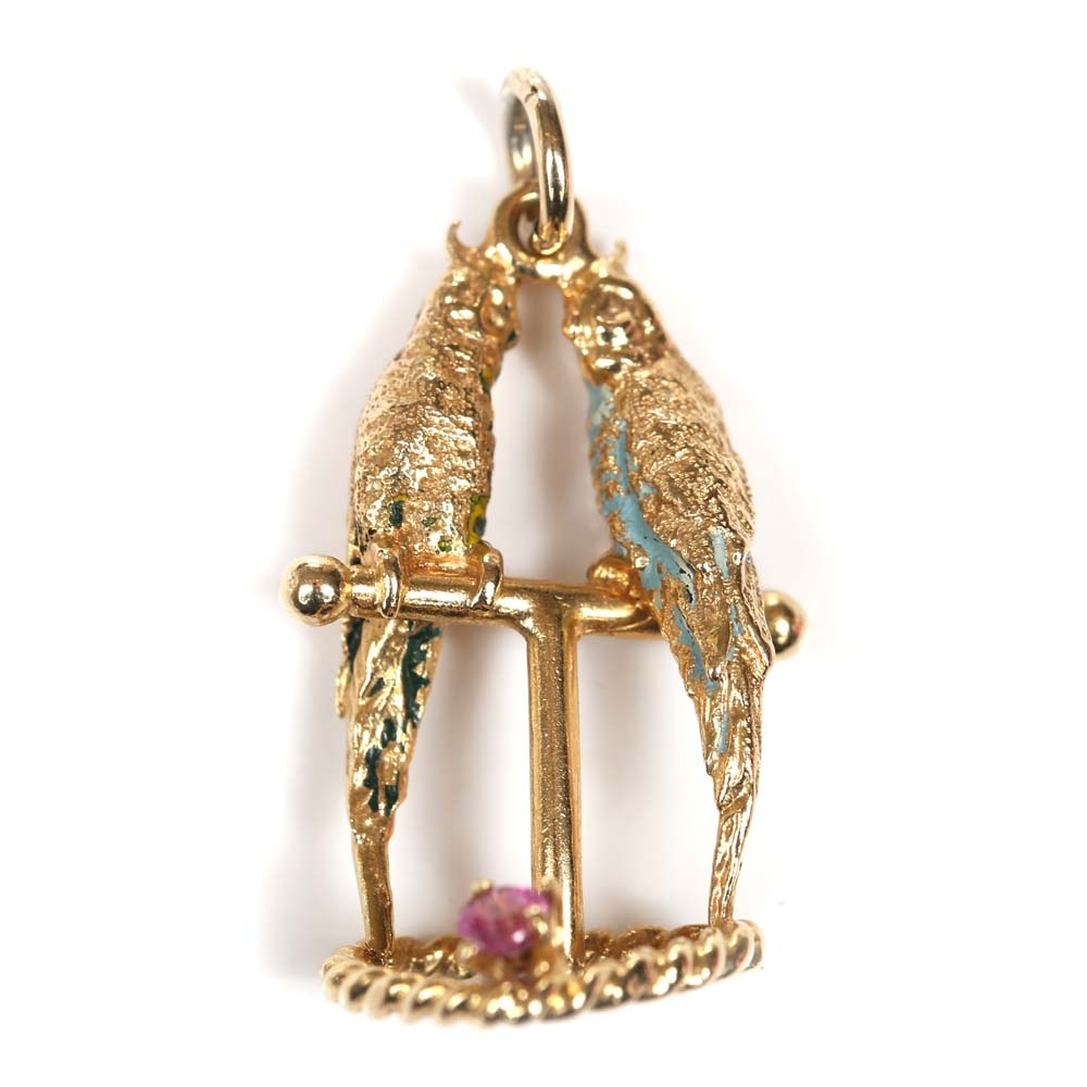 14K Yellow Gold and Pink Sapphire Enameled Parrot Pendant