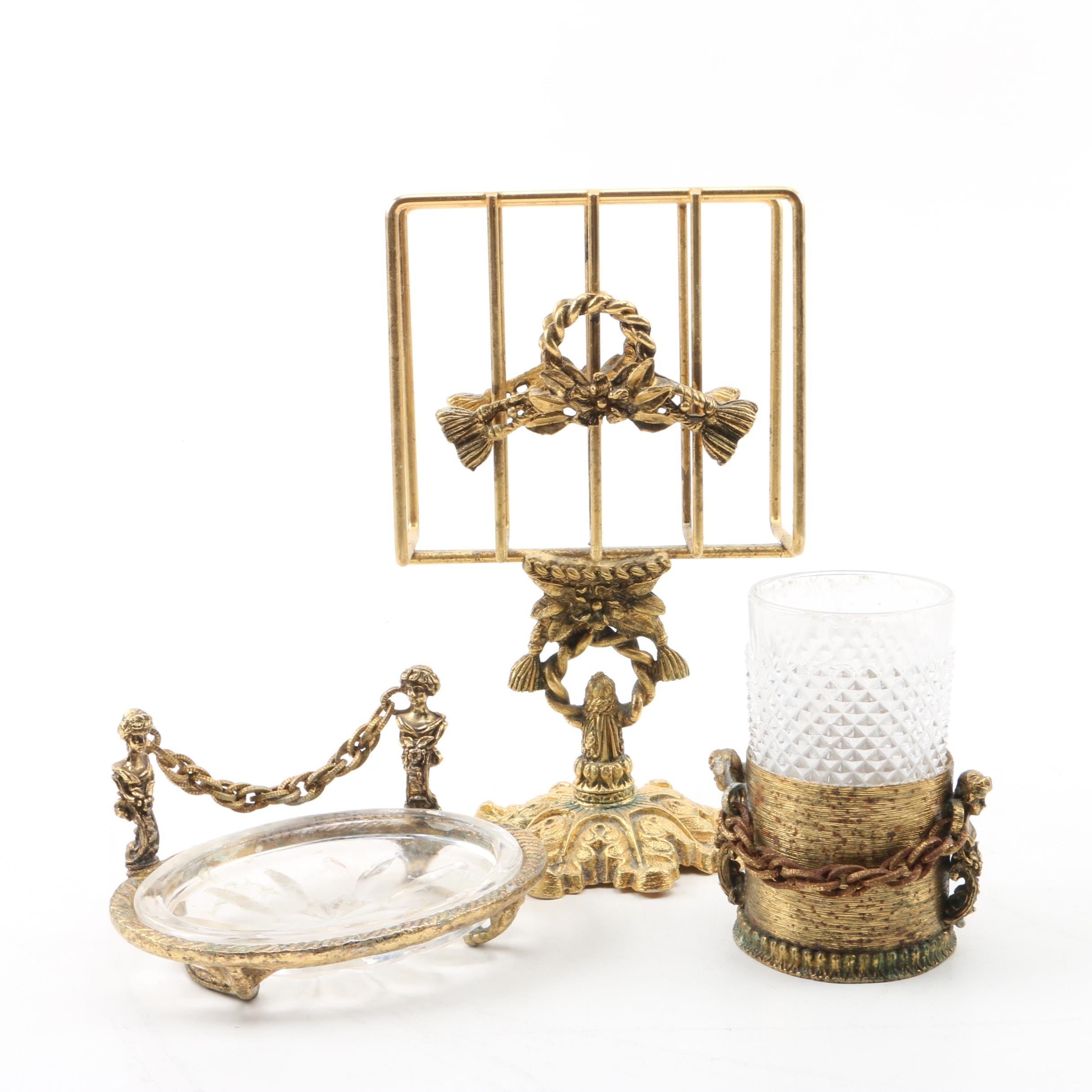 Gold Tone Renaissance Style Bathroom Accessories