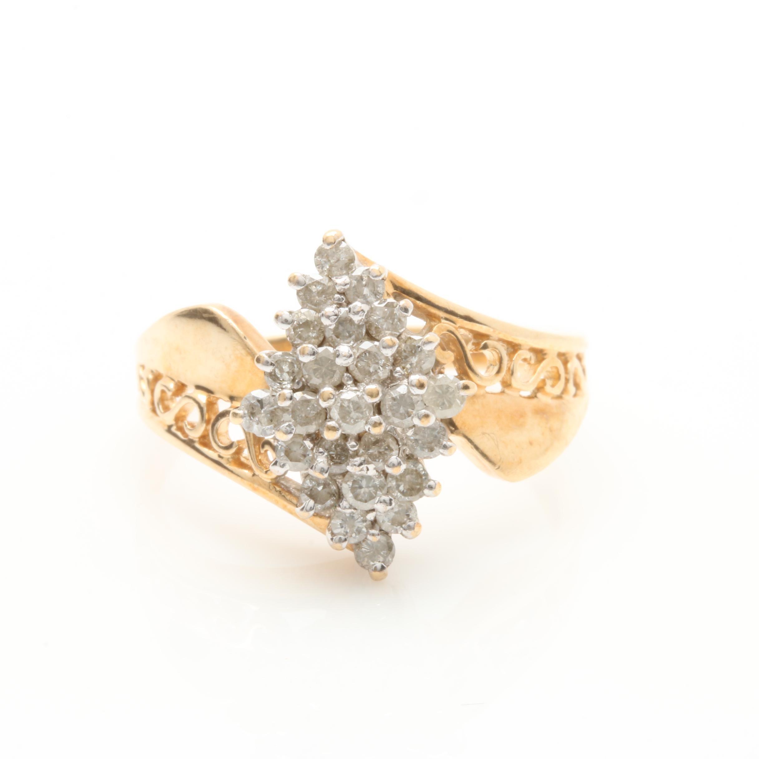 10K White Gold Diamond Crisscross Ring