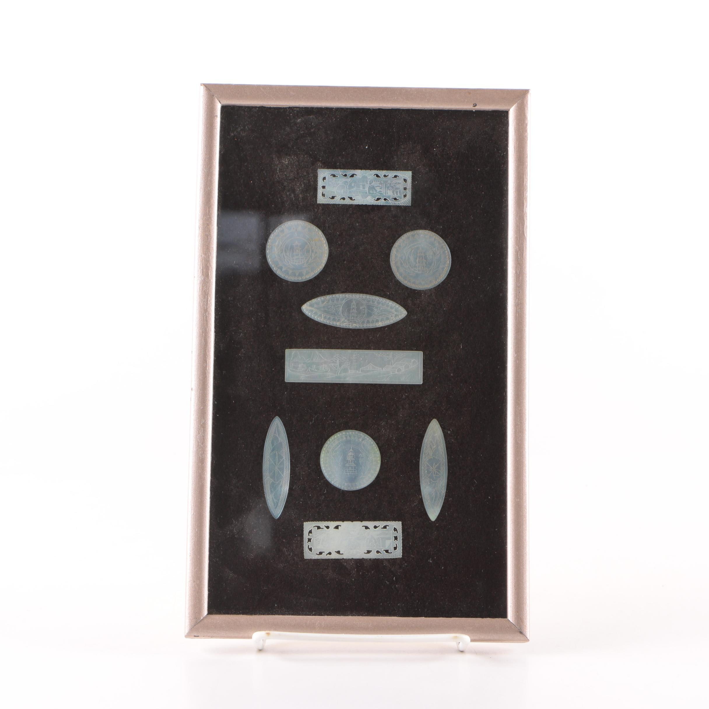 Chinese Mother of Pearl Engraved Gaming Counters In Frame
