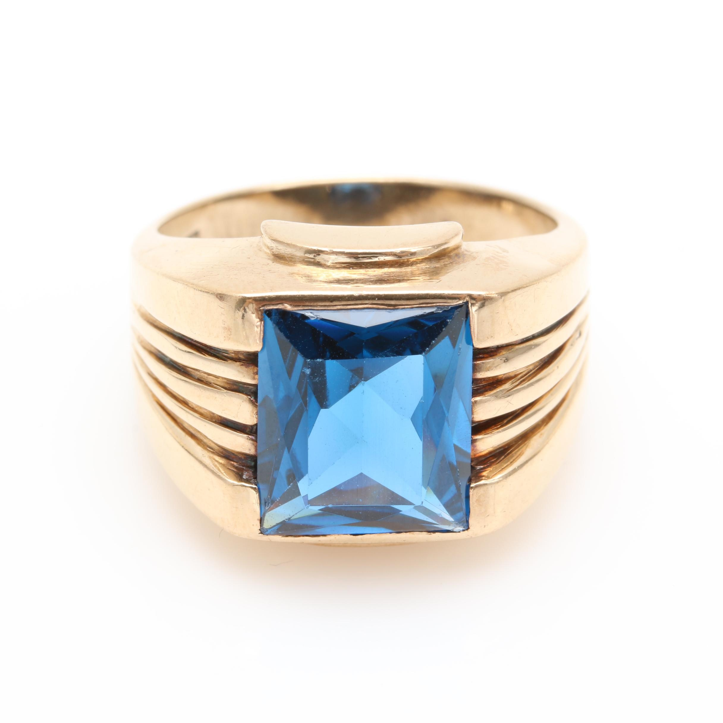 10K Yellow Gold Synthetic Blue Spinel Ring