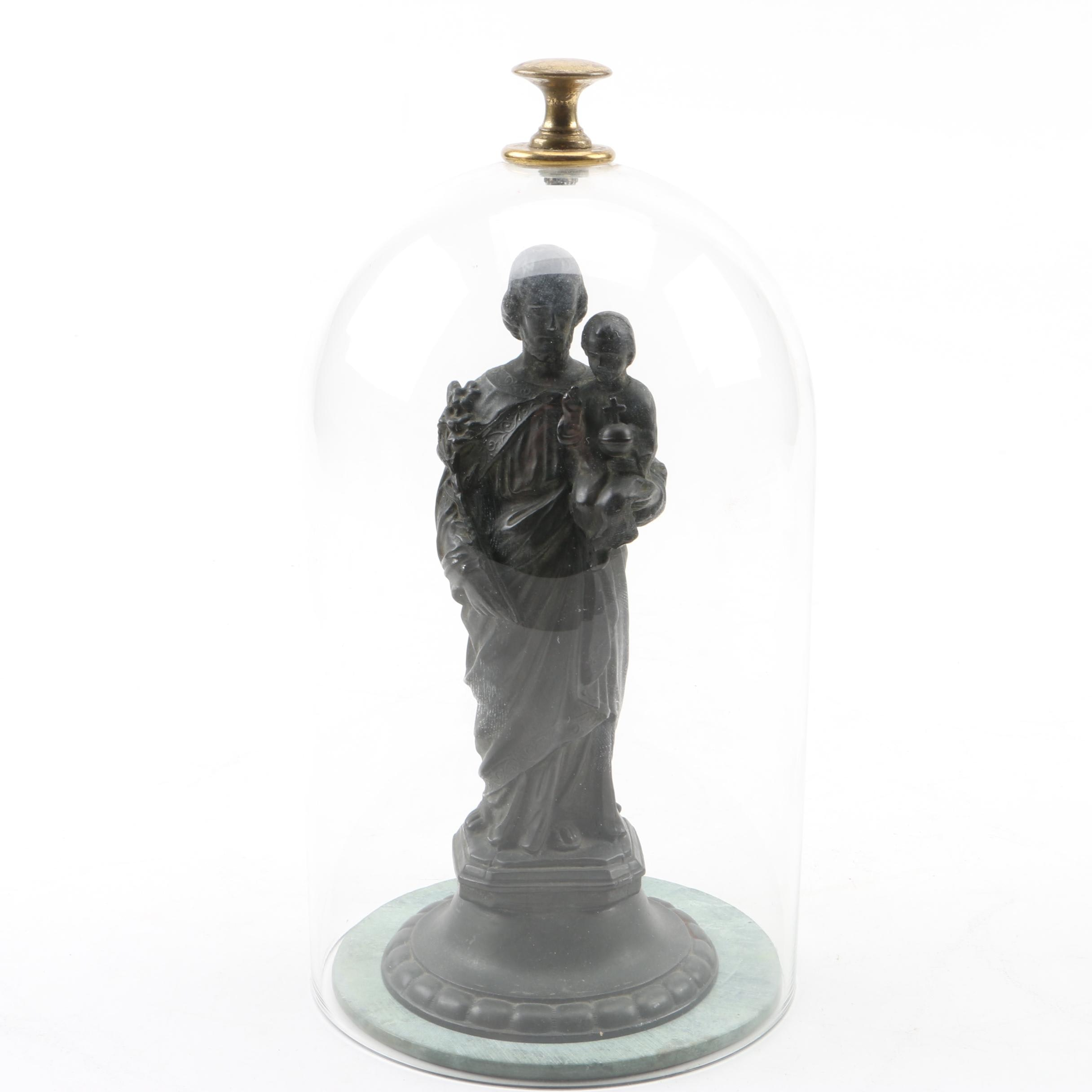 Bronze-Tone Metal Joseph and Jesus Figurine with Glass Dome and Marble Base