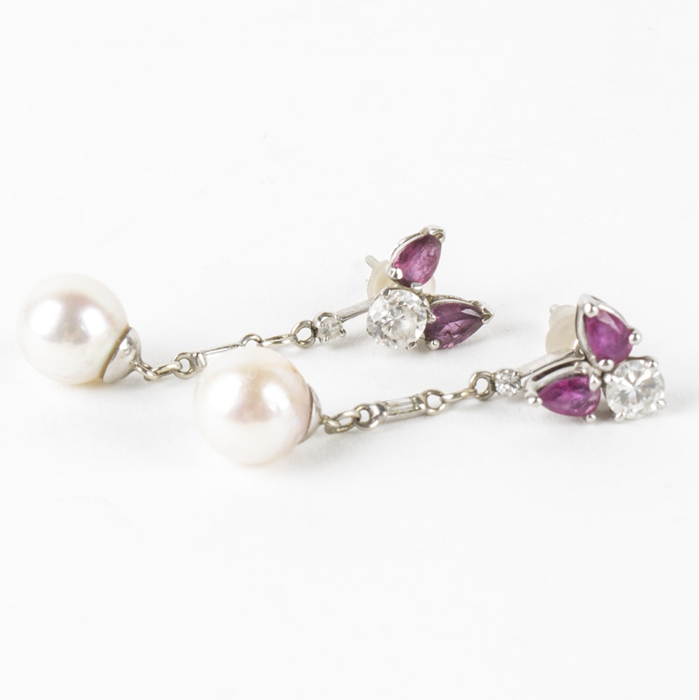 Platinum and White Gold Ruby, Diamond and Pearl Earrings