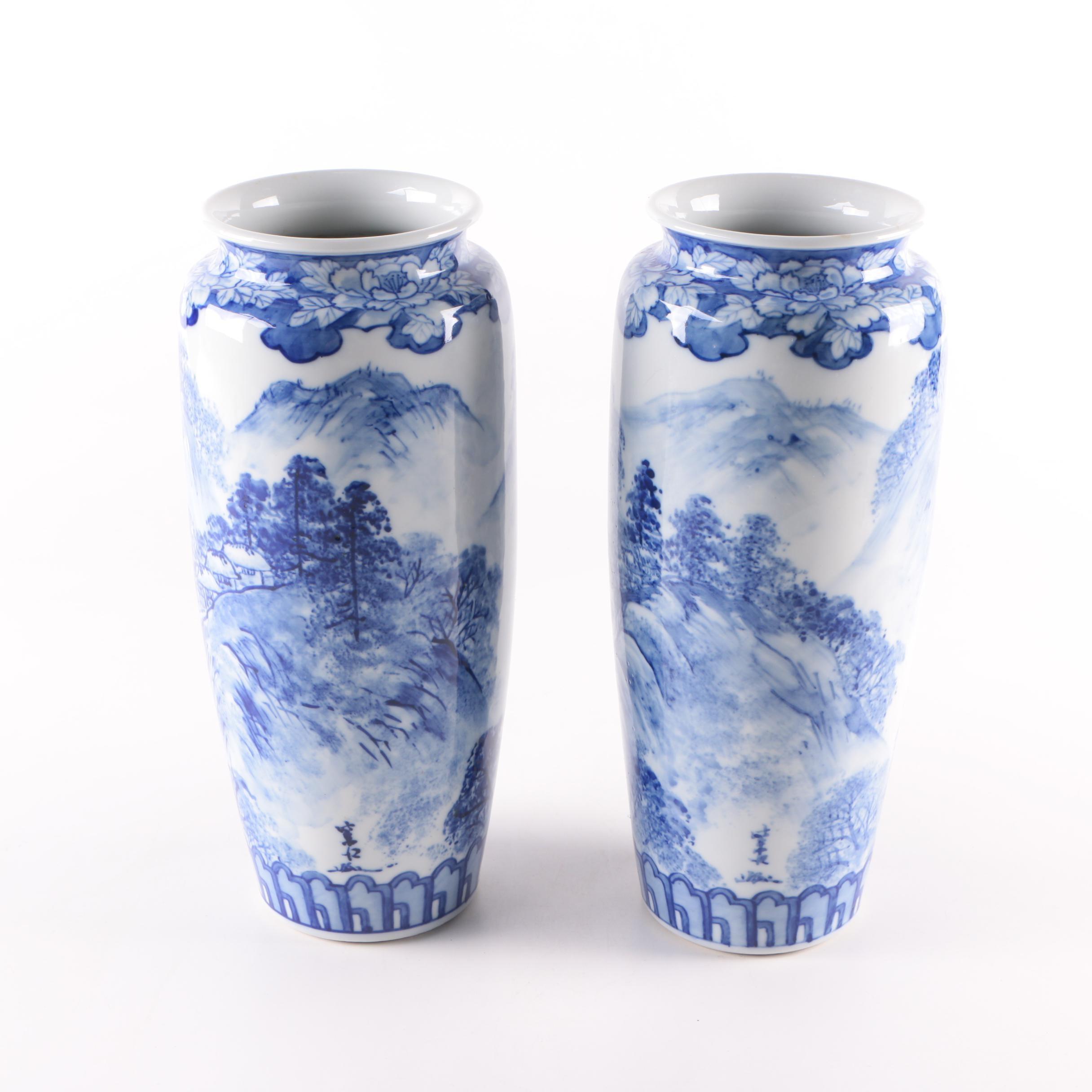 Japanese Blue and White Ceramic Vases