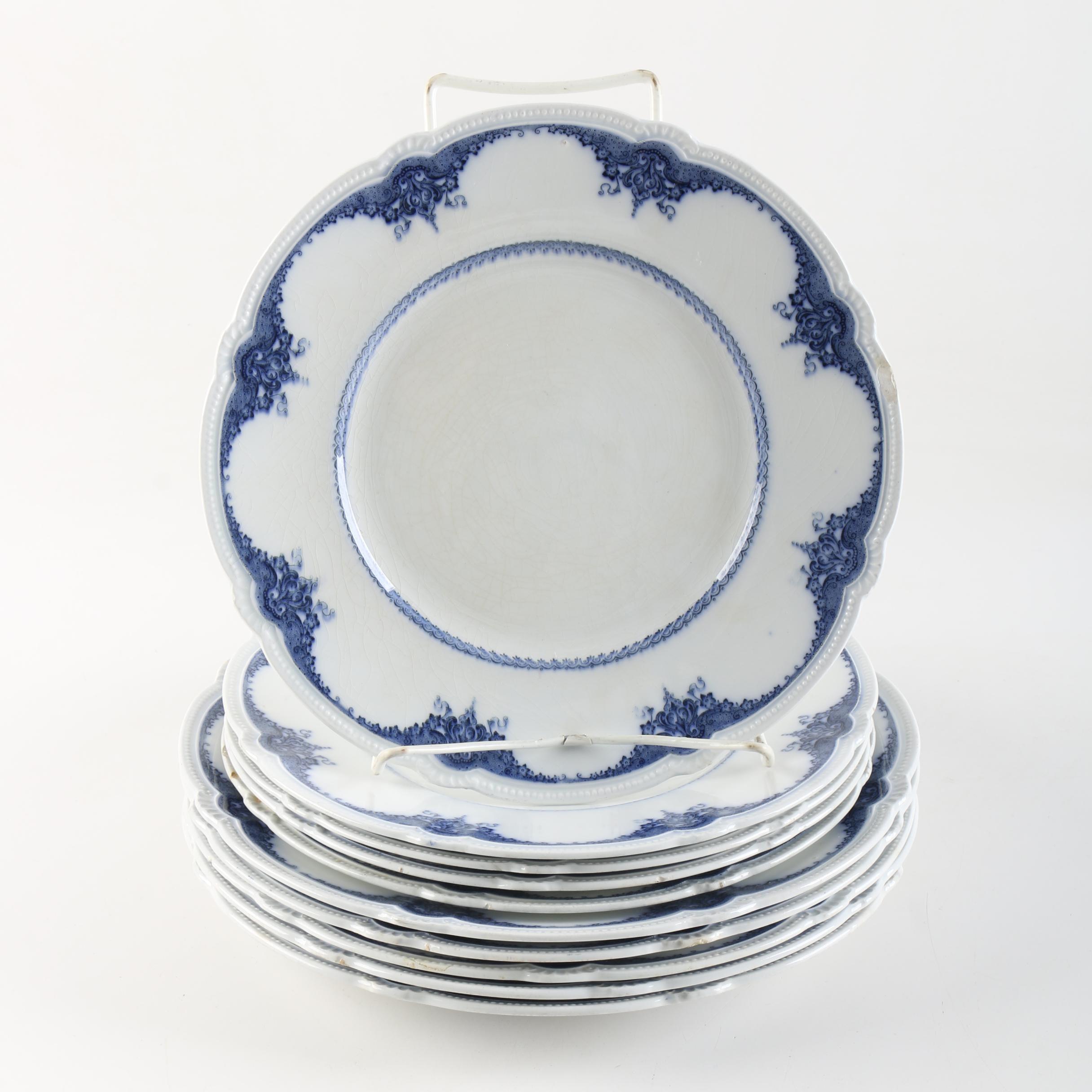 """Antique Booths England Royal Semi Porcelain """"London"""" Plates c. 1900"""