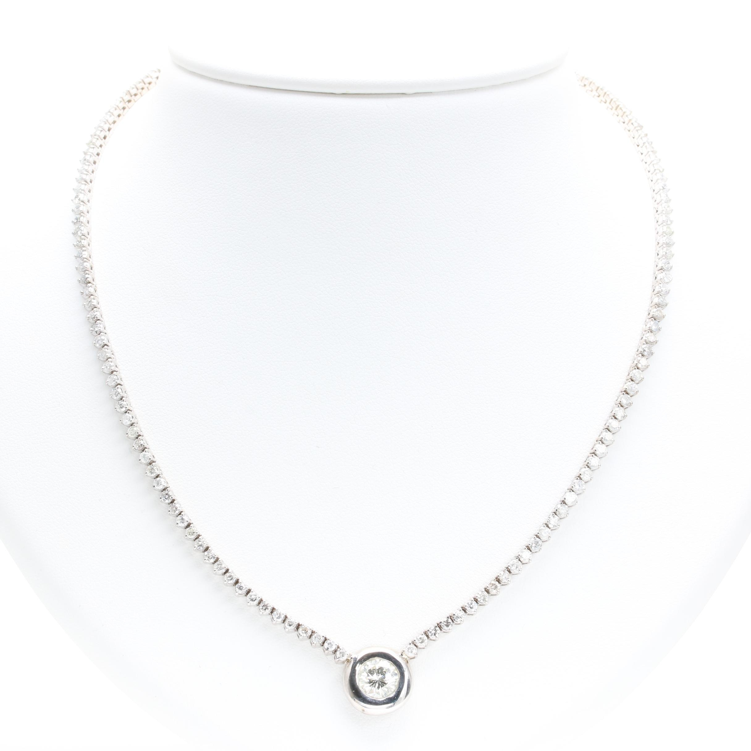 14K White Gold 6.40 CTW Diamond Necklace