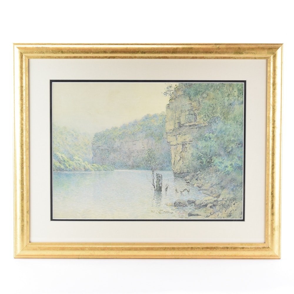 """Limited Edition Offset Lithograph After Paul Sawyier """"Quiet Palisades"""""""