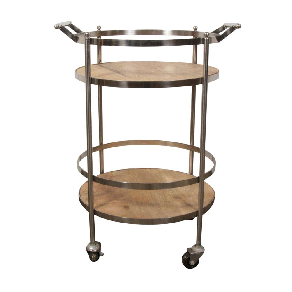Wood and Chrome Bar Cart