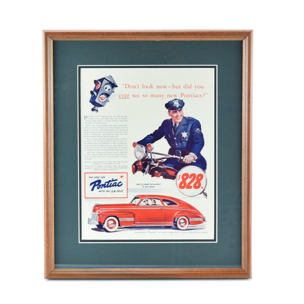Framed 1940 Pontiac Advertisement