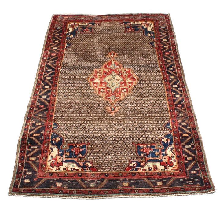 Vintage Hand Knotted Persian Senneh Bijar Area Rug