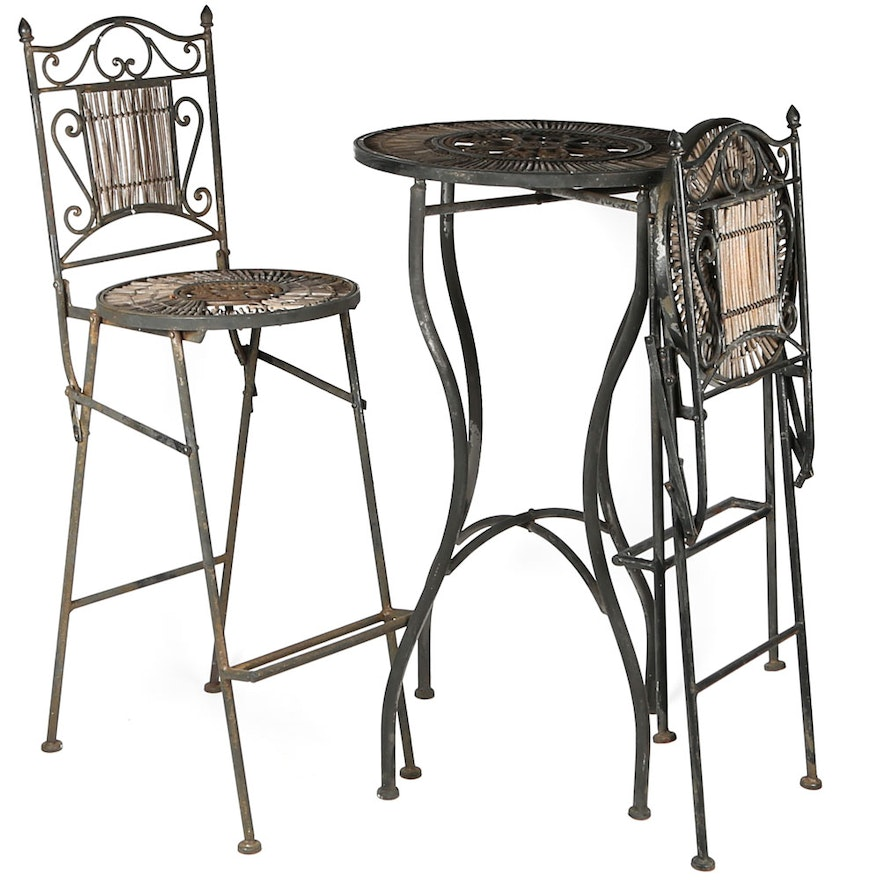 wrought iron bar height table and chairs ebth