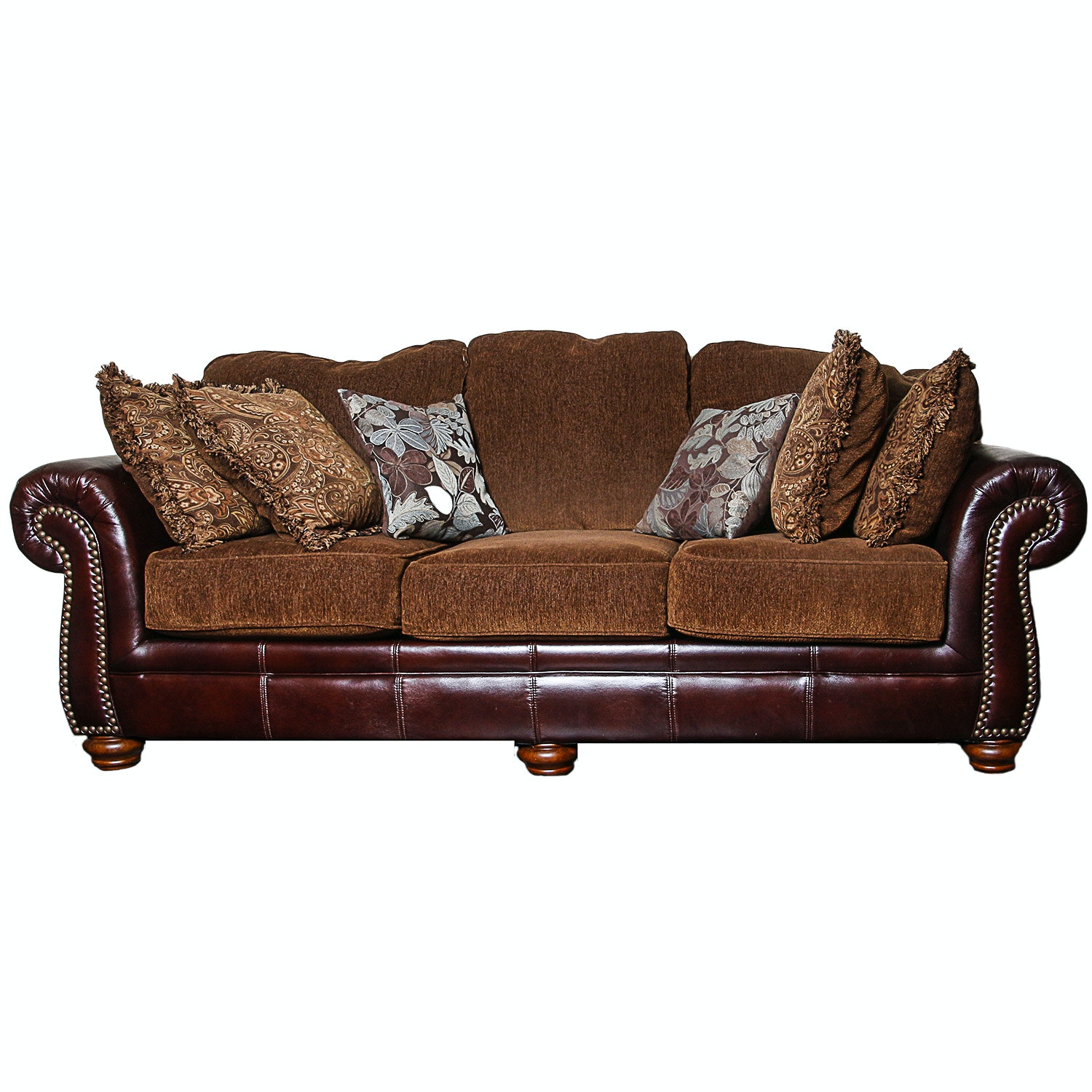 Burgundy Faux Leather Sofa with Brown-Upholstered Cushions