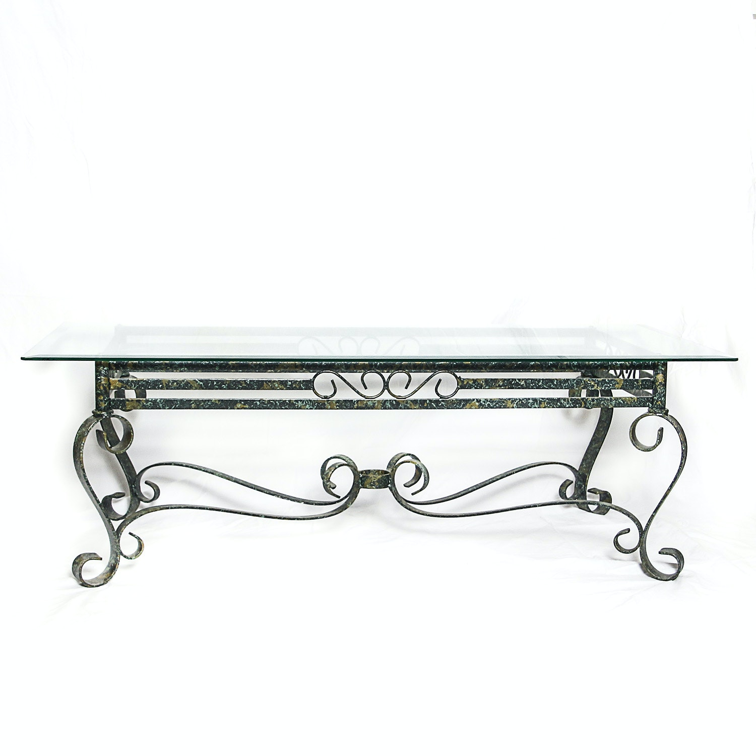 Wrought Metal Glass Top Coffee Table