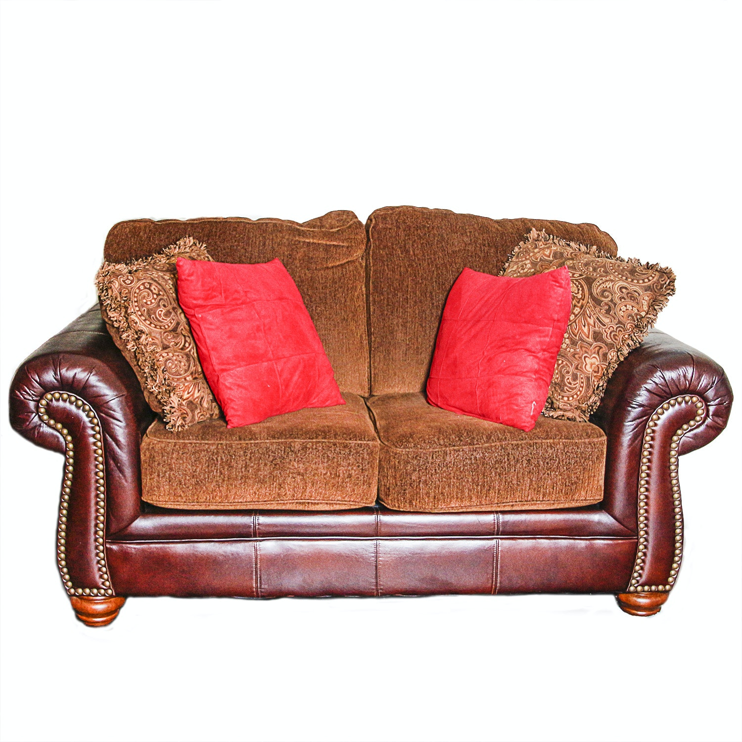 Burgundy Faux Leather Love Seat with Brown-Upholstered Cushions