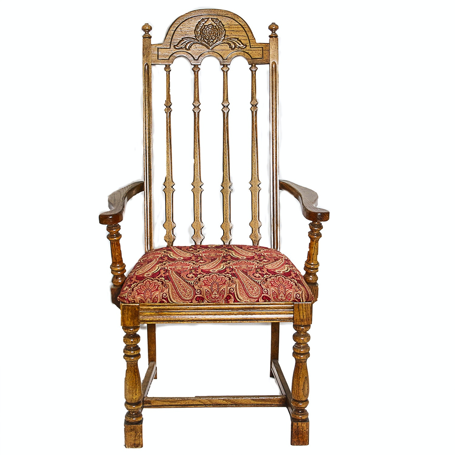 Colonial Style Oak Pressed Back Arm Chair