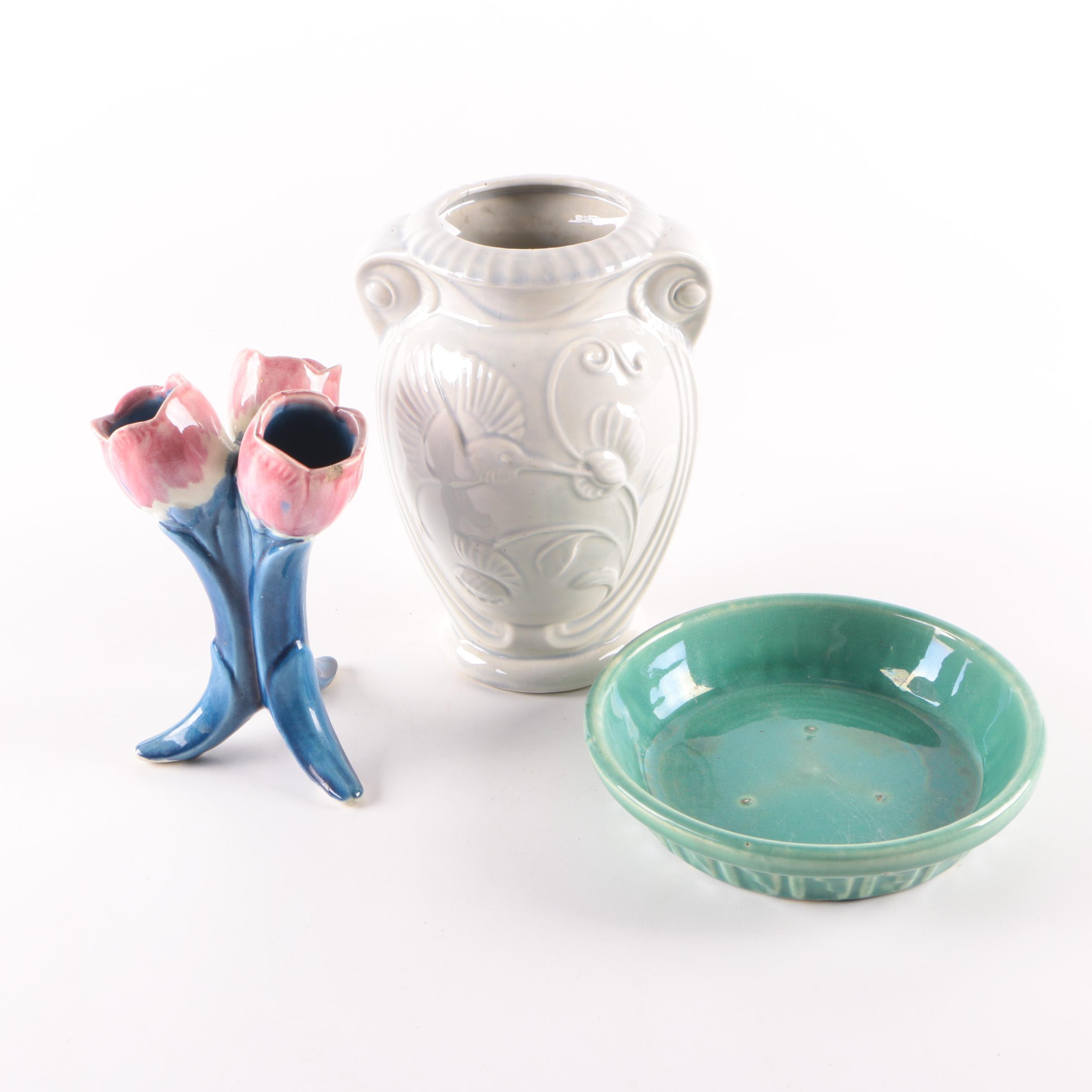 Vintage Ceramic Vases and Underplate
