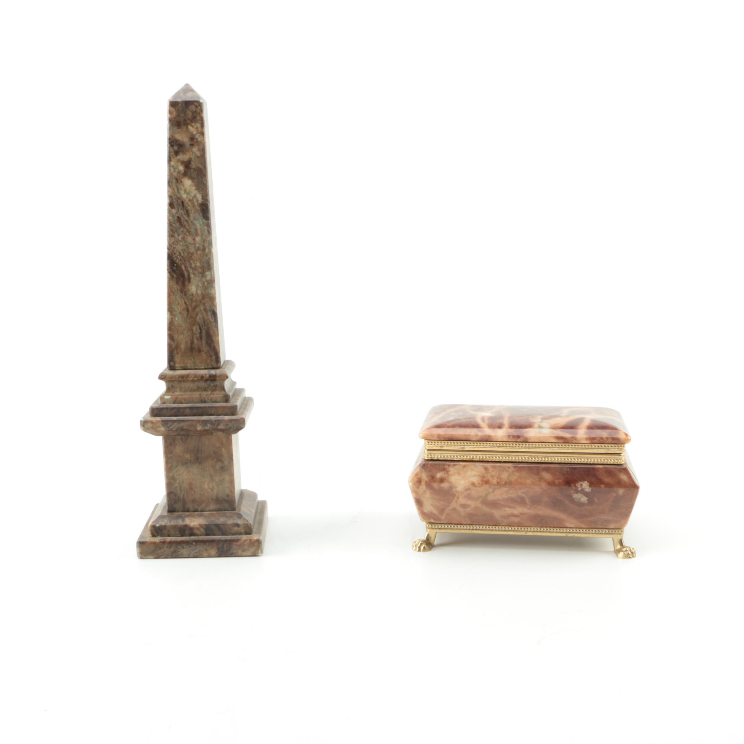 Marble Obelisk with an Alabaster Trinket Box