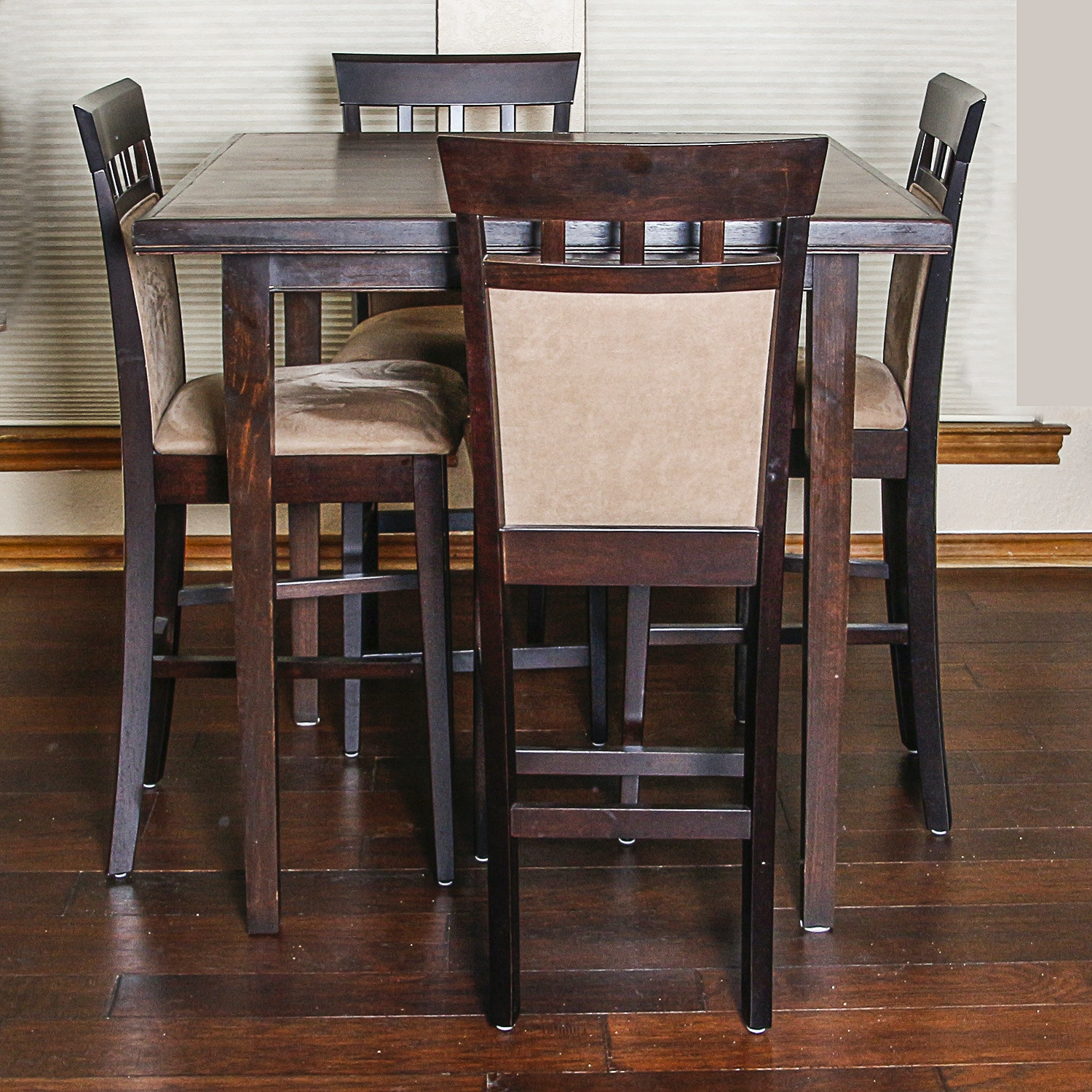 Contemporary Walnut Stained Counter Height Dining Set