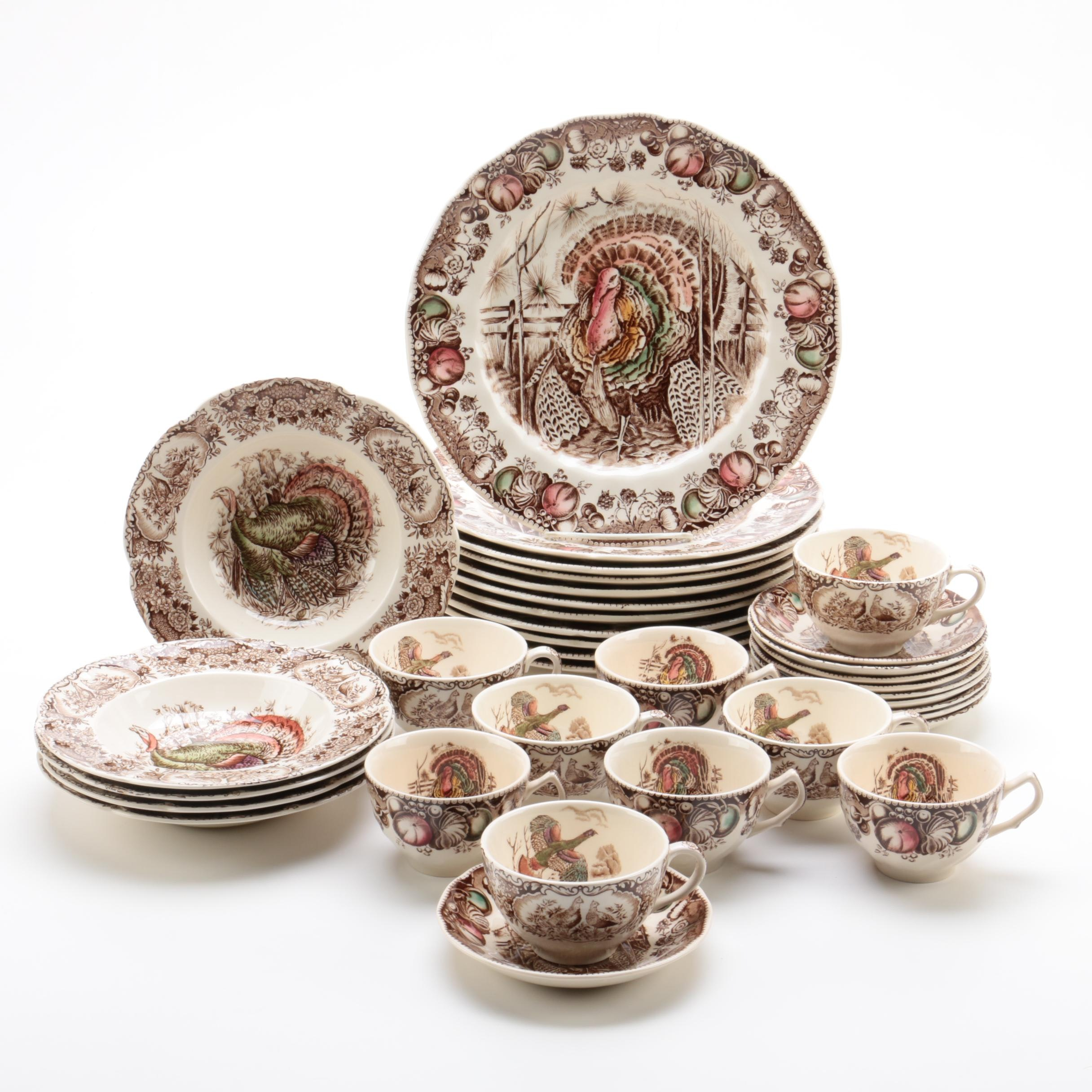 "Vintage Johnson Bros ""His Majesty"" and ""Wild Turkeys"" Dinnerware 1951-83"