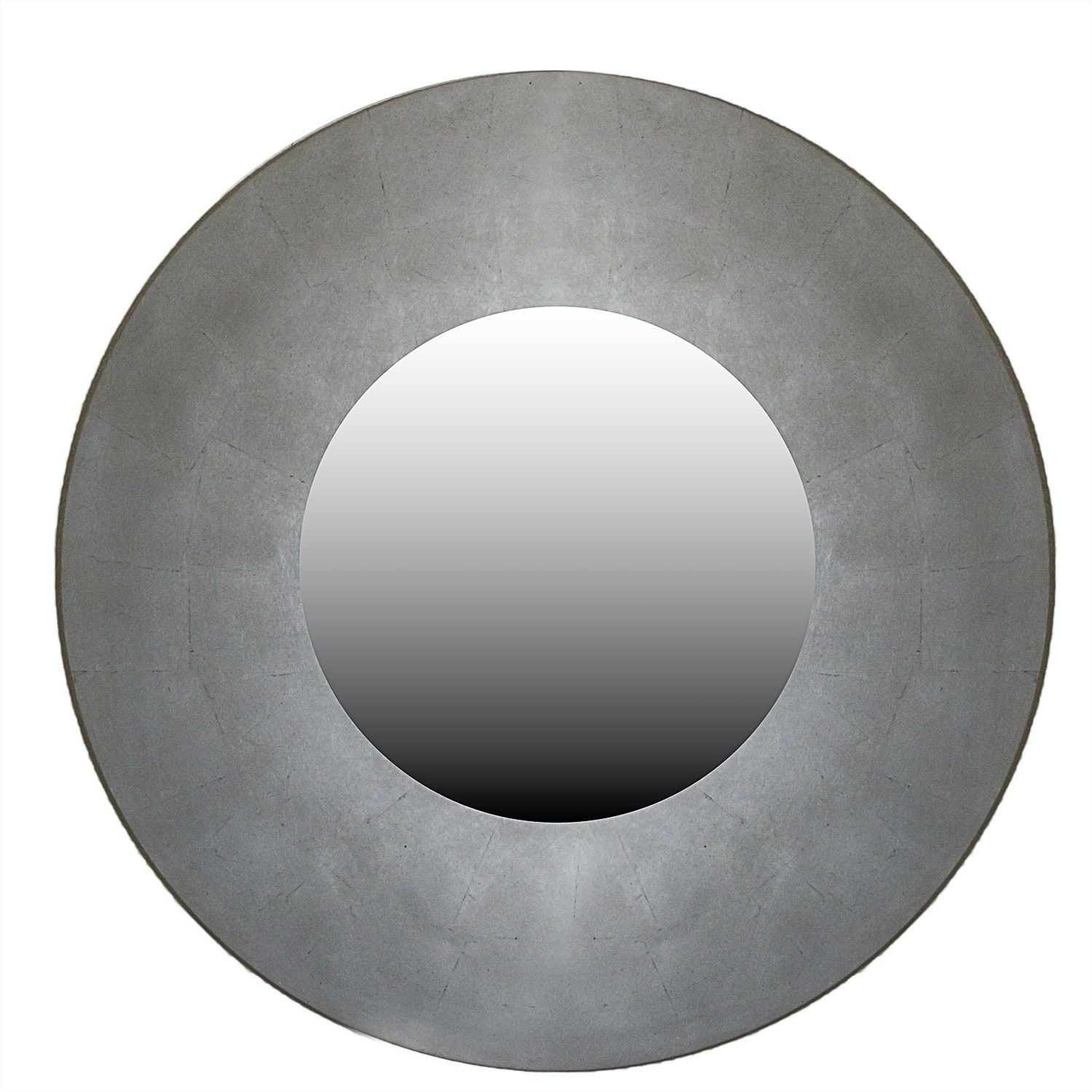 Contemporary Round Wall Mirror with Wide Silver-Tone Framing