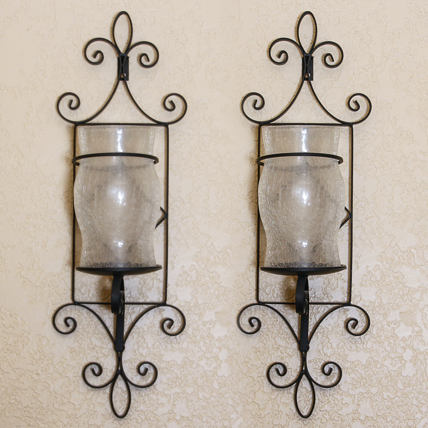 Two Wall Sconces with Hurricane Candle Holders