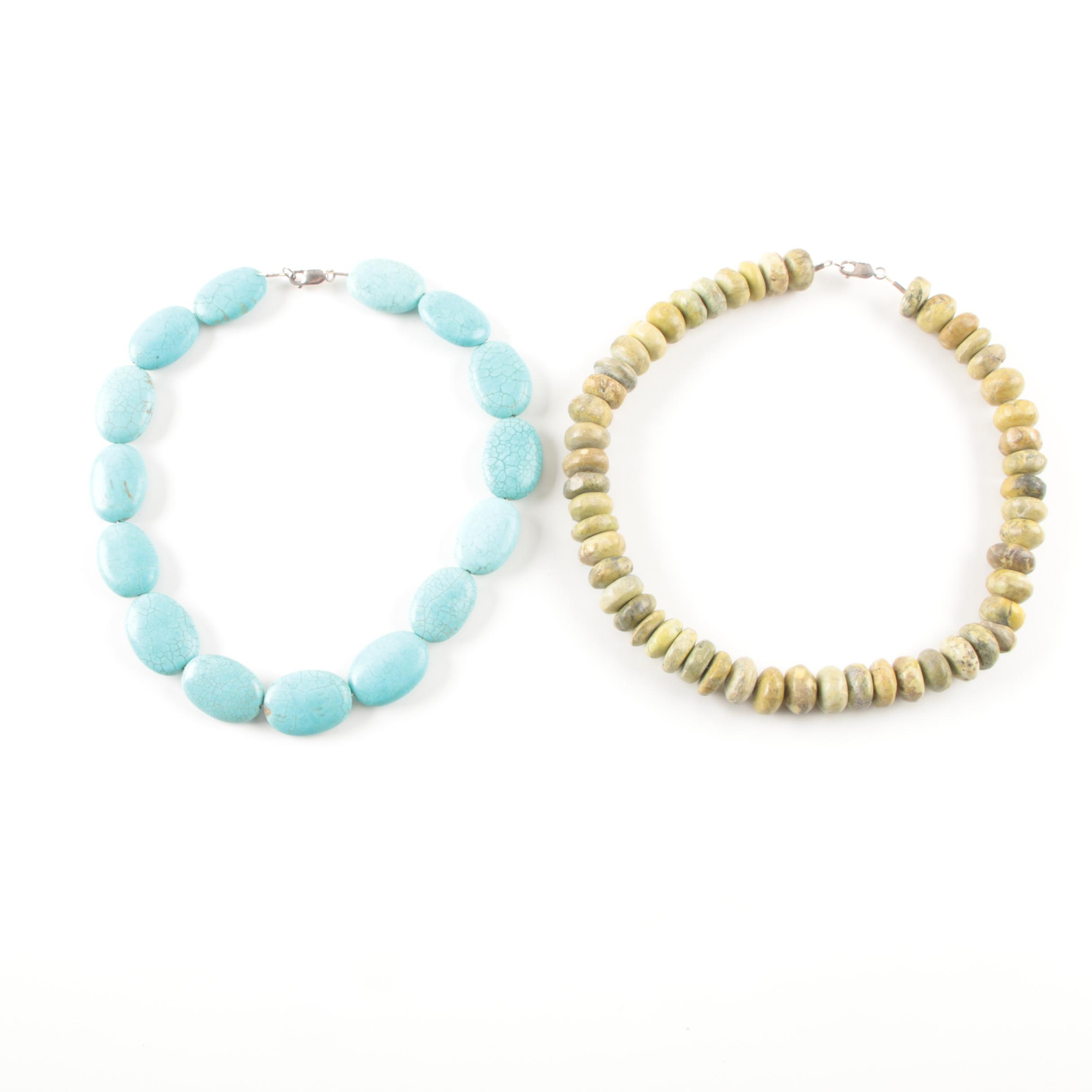 Sterling Silver and Beaded Necklaces With Imitation Turquoise