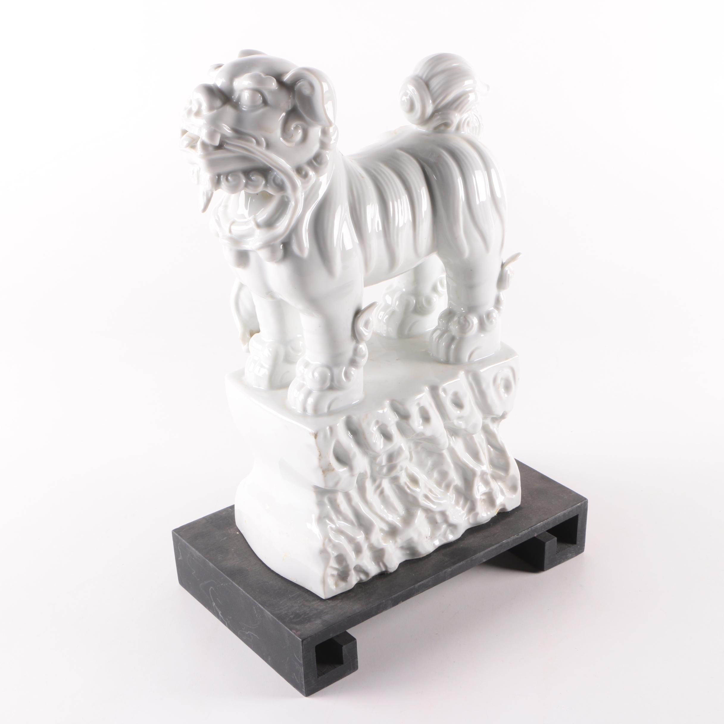 Ceramic Guardian Lion Figurine on Wooden Base