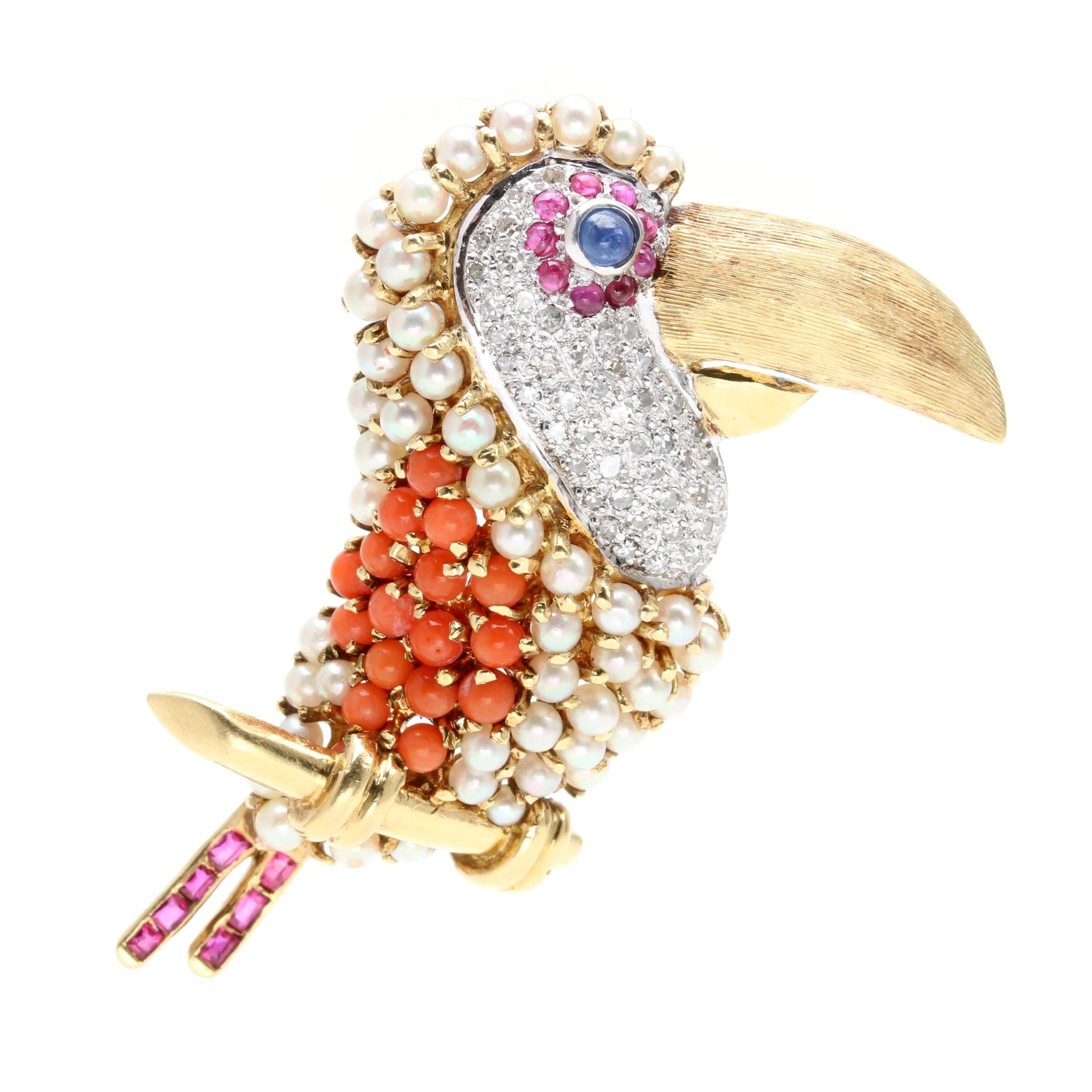 14K Yellow Gold Diamond and Gemstone Bird Pendant