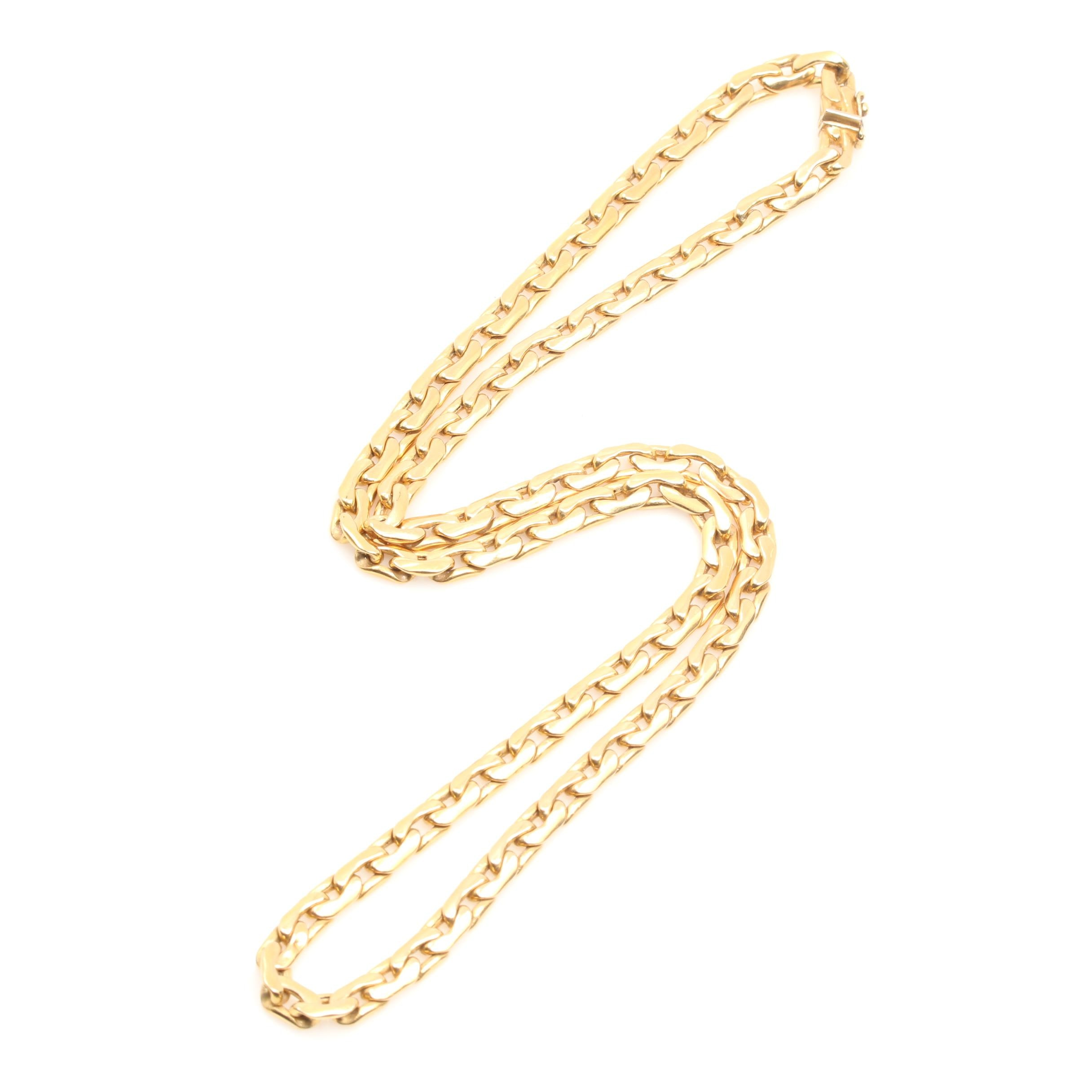 14K Yellow Gold Italian Flat C-Link Chain Necklace