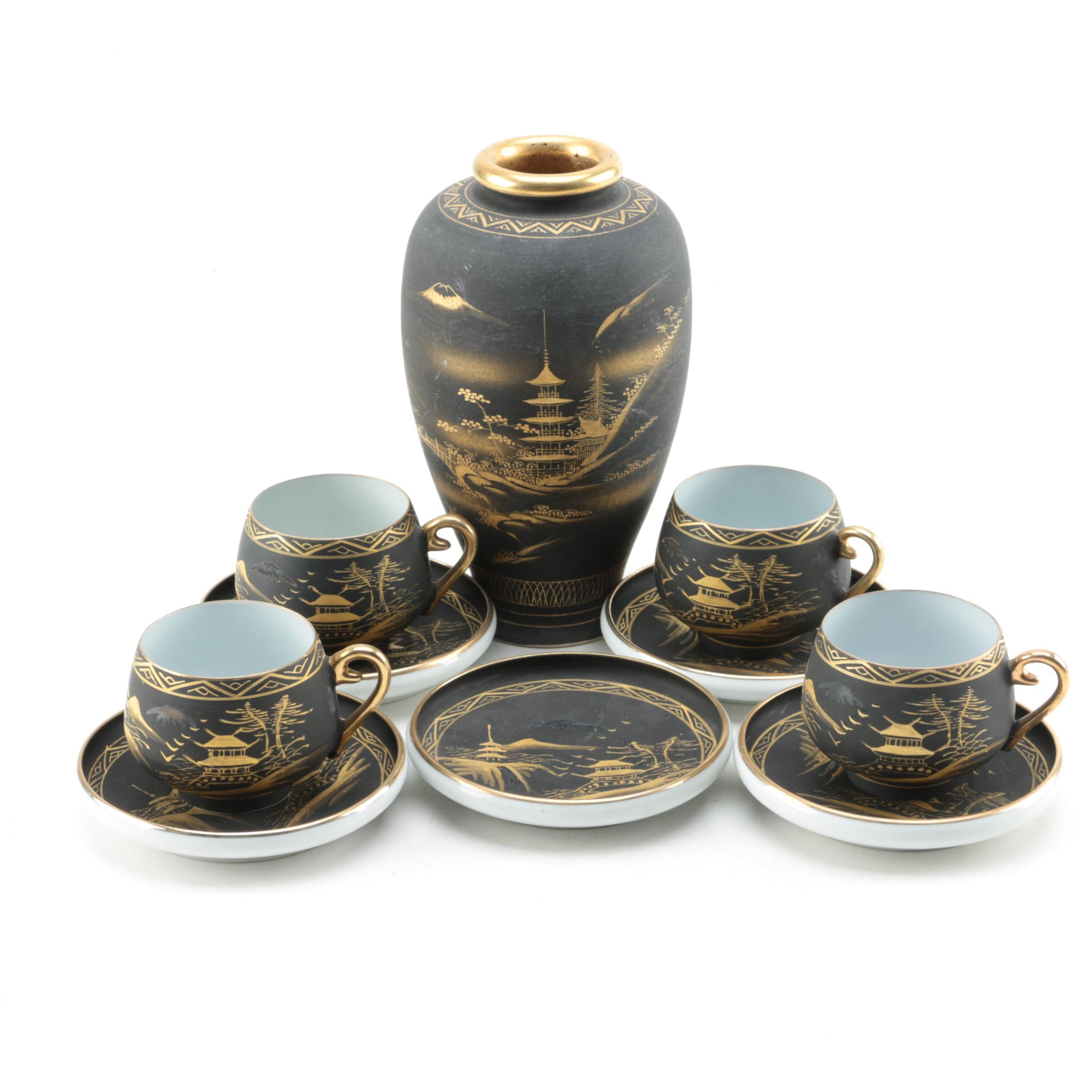 Japanese Black and Gold Hand Painted Cups, Saucers and Vase
