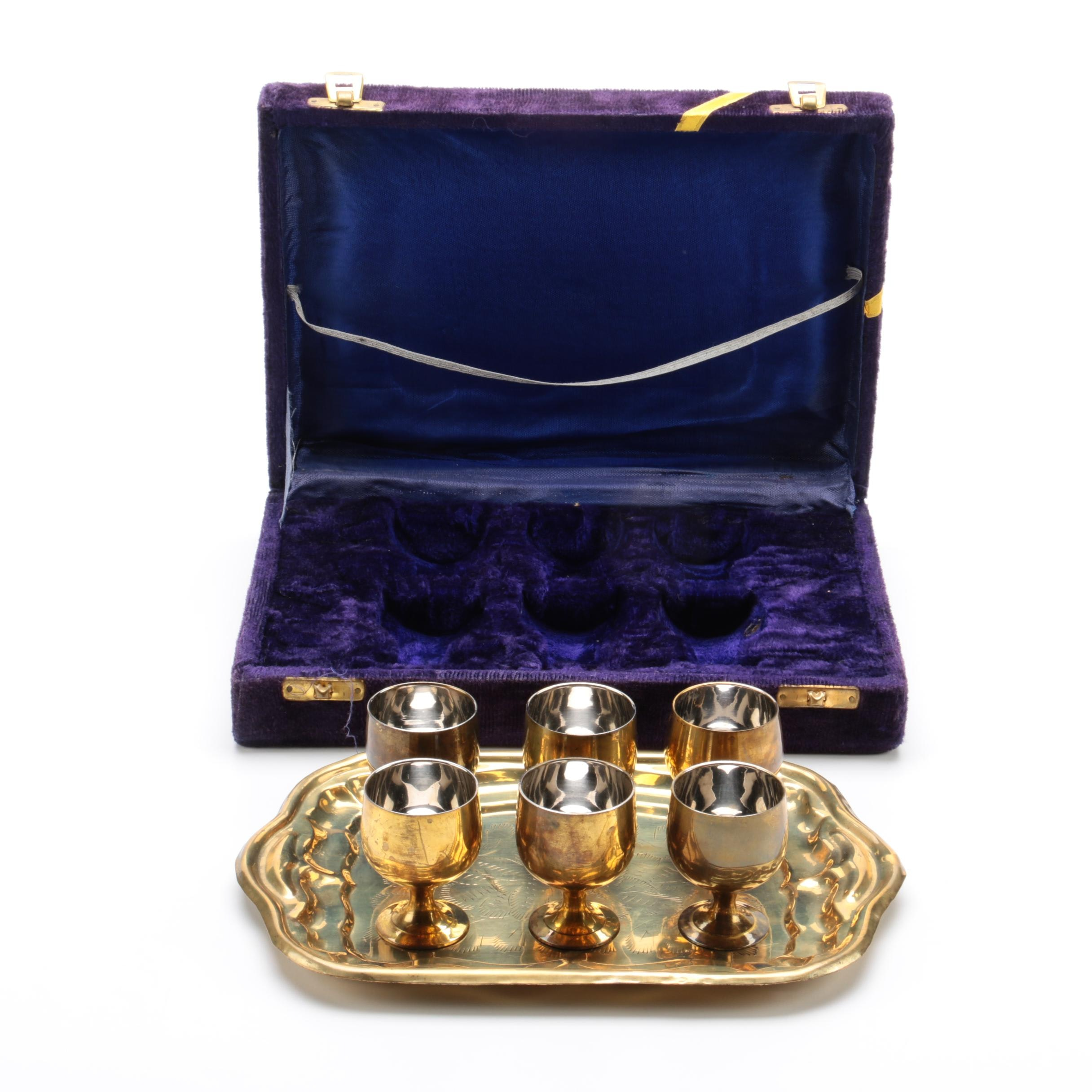 Brass Glasses and Service Tray in Presentation Case