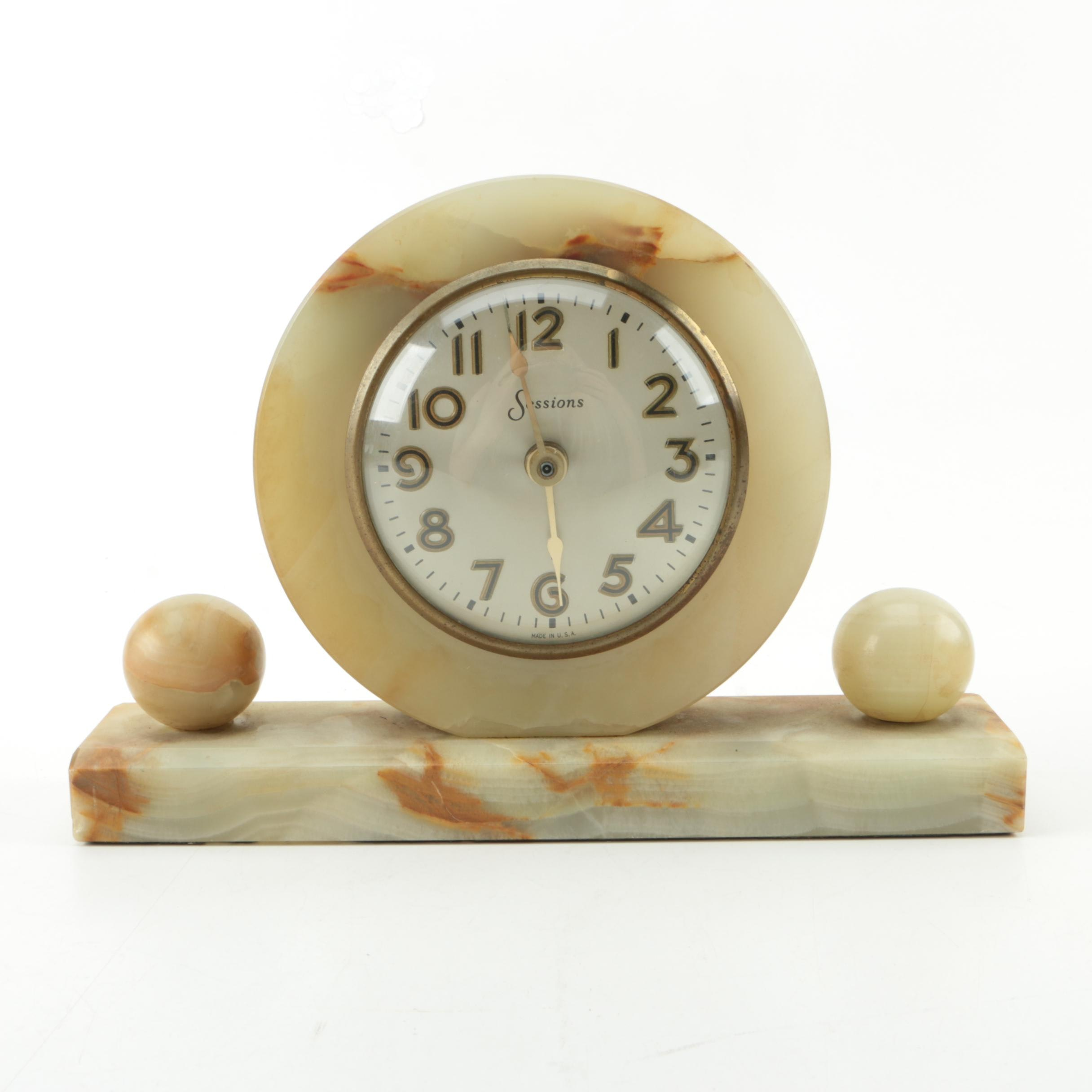Sessions Art Deco Calcite Mantel Clock