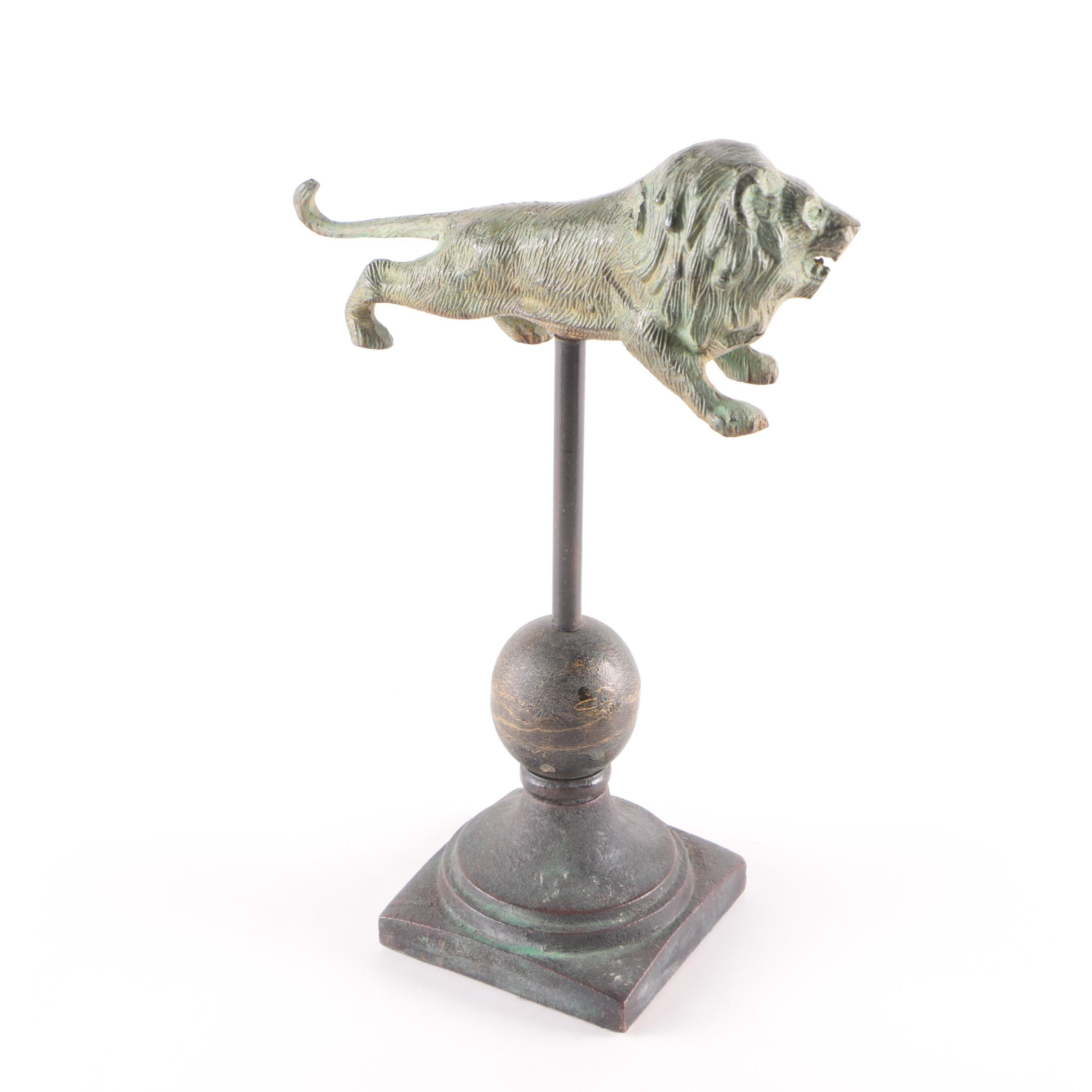 Metal Lion Figurine on Cast Iron Base
